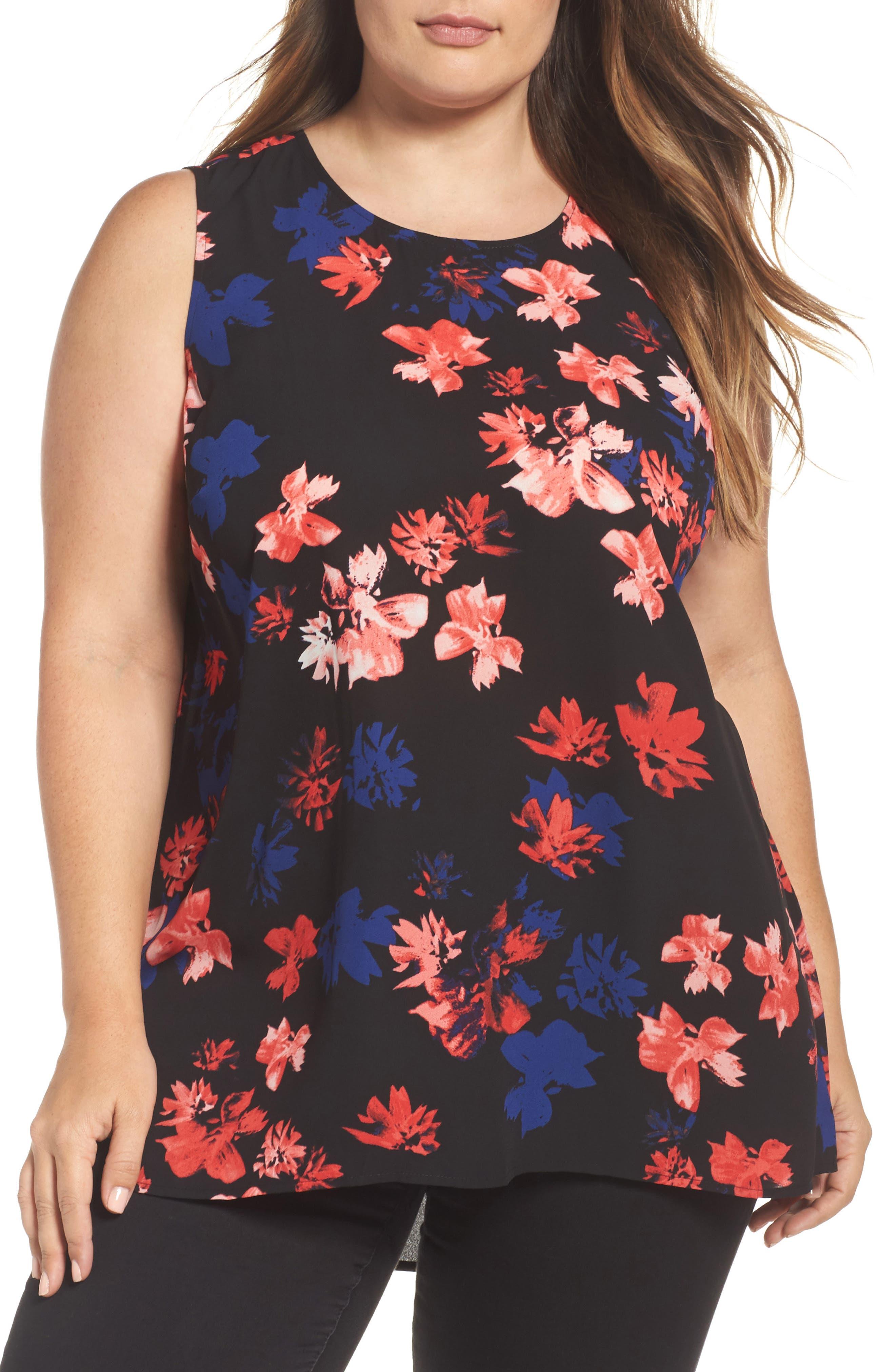 Vince Camuto Ballard Floral Print Blouse (Plus Size)