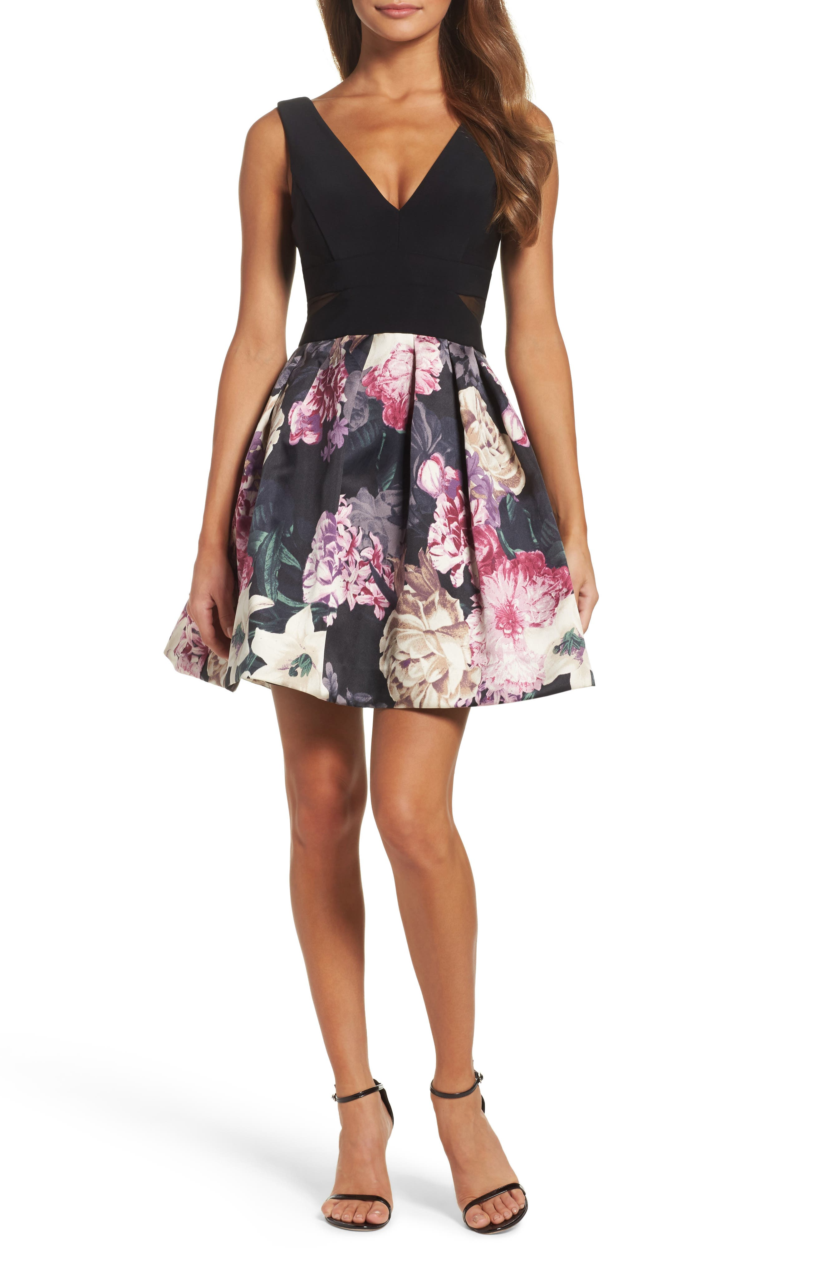 Xscape Mixed Media Party Dress
