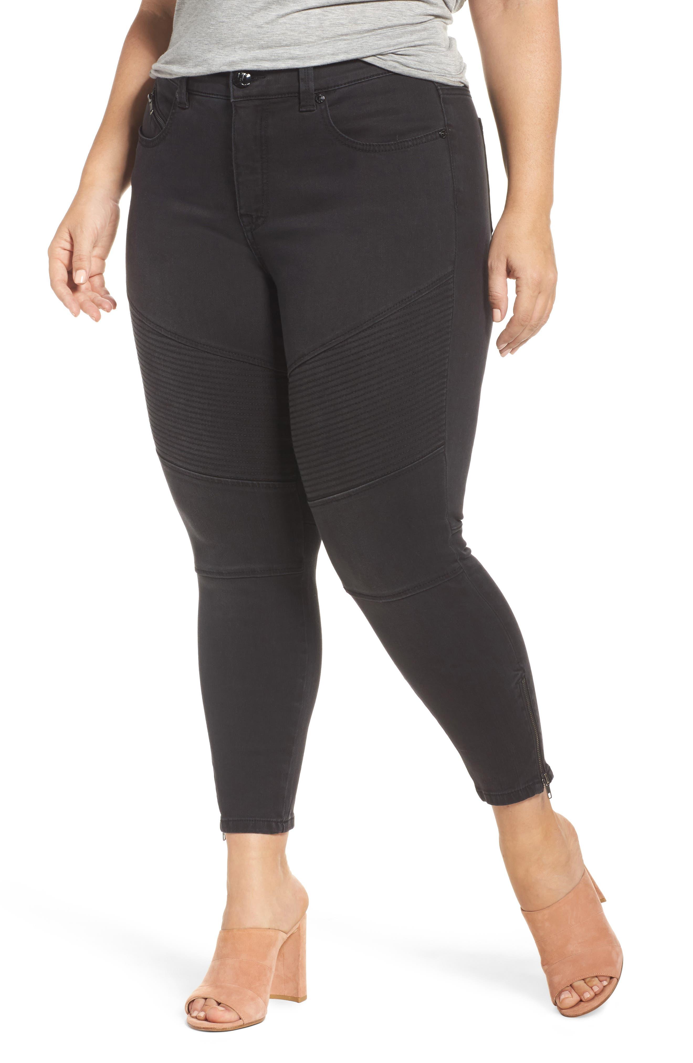 Melissa McCarthy Seven7 Moto Pencil Jeans (Opal) (Plus Size)