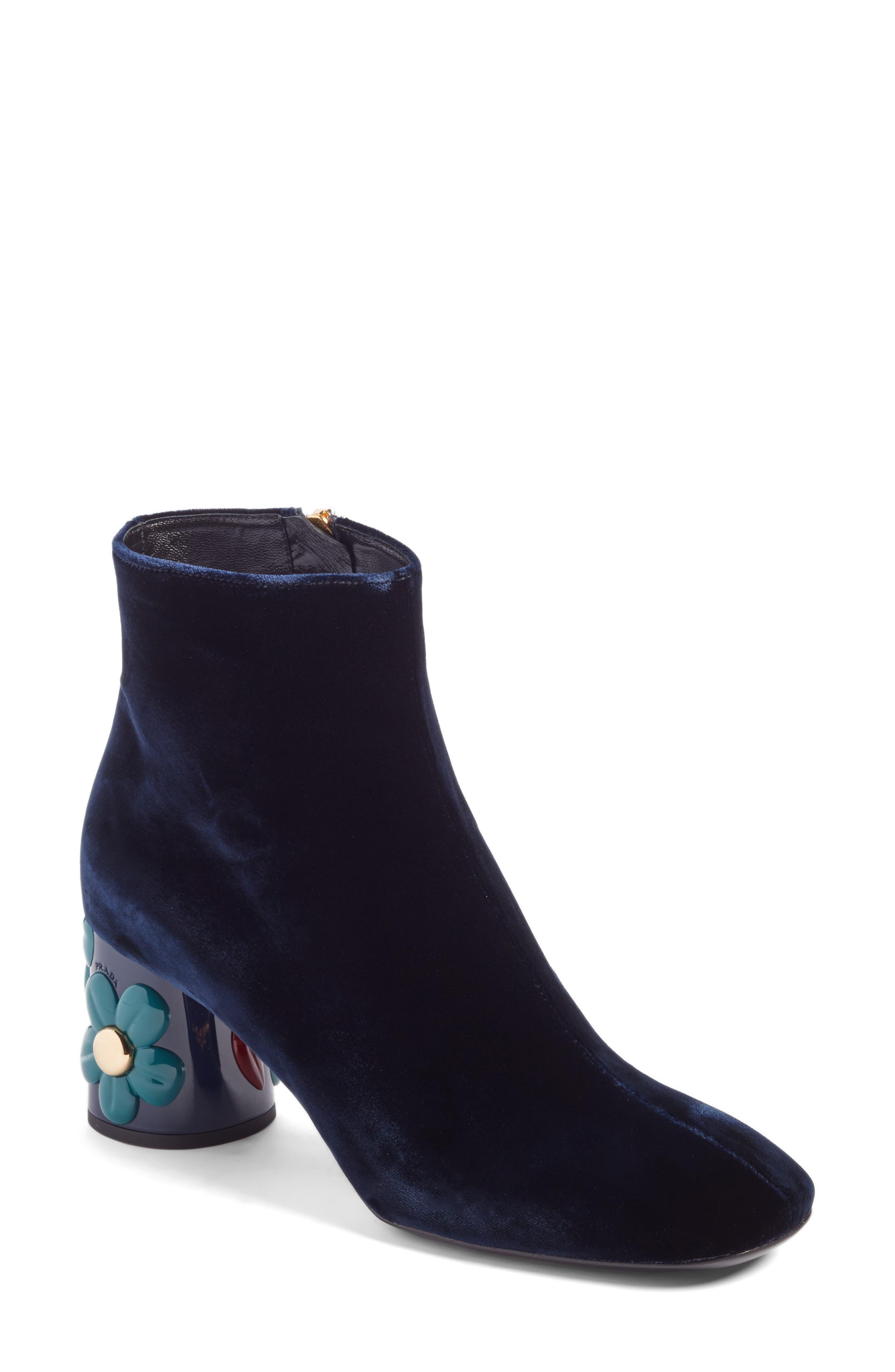Prada Embellished Block Heel Bootie (Women)