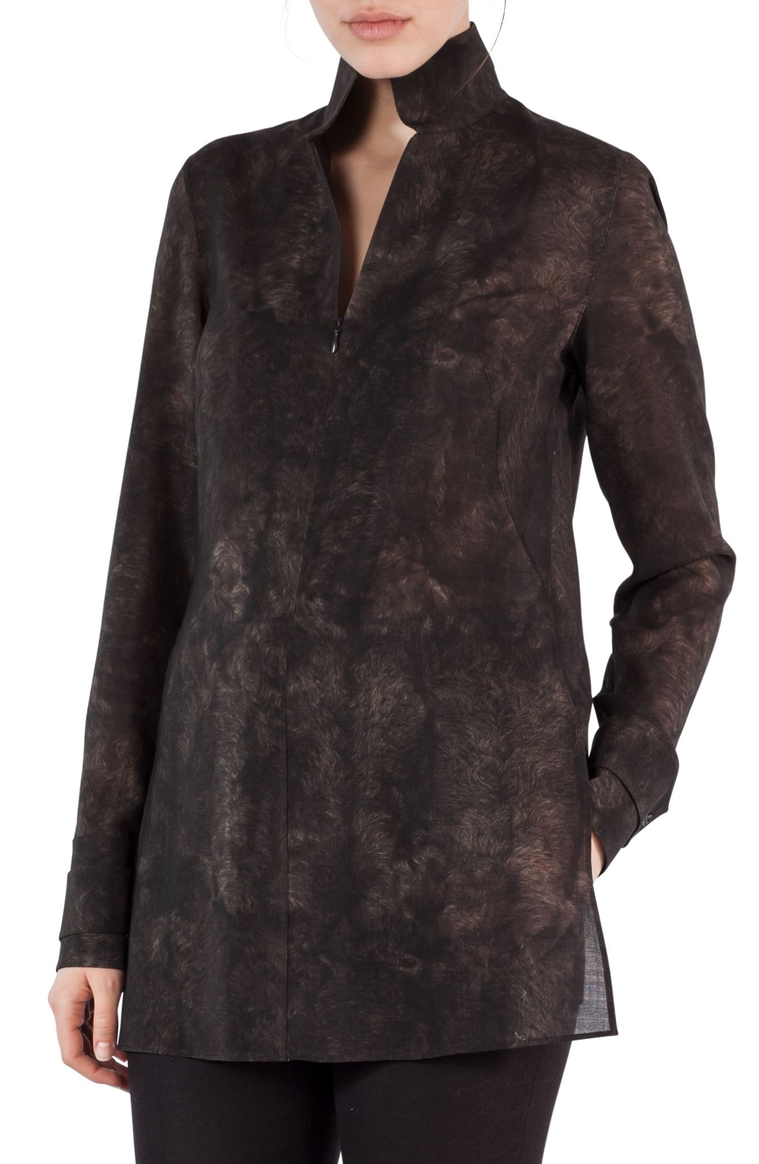Akris Shearling Print Wool Mousseline Tunic