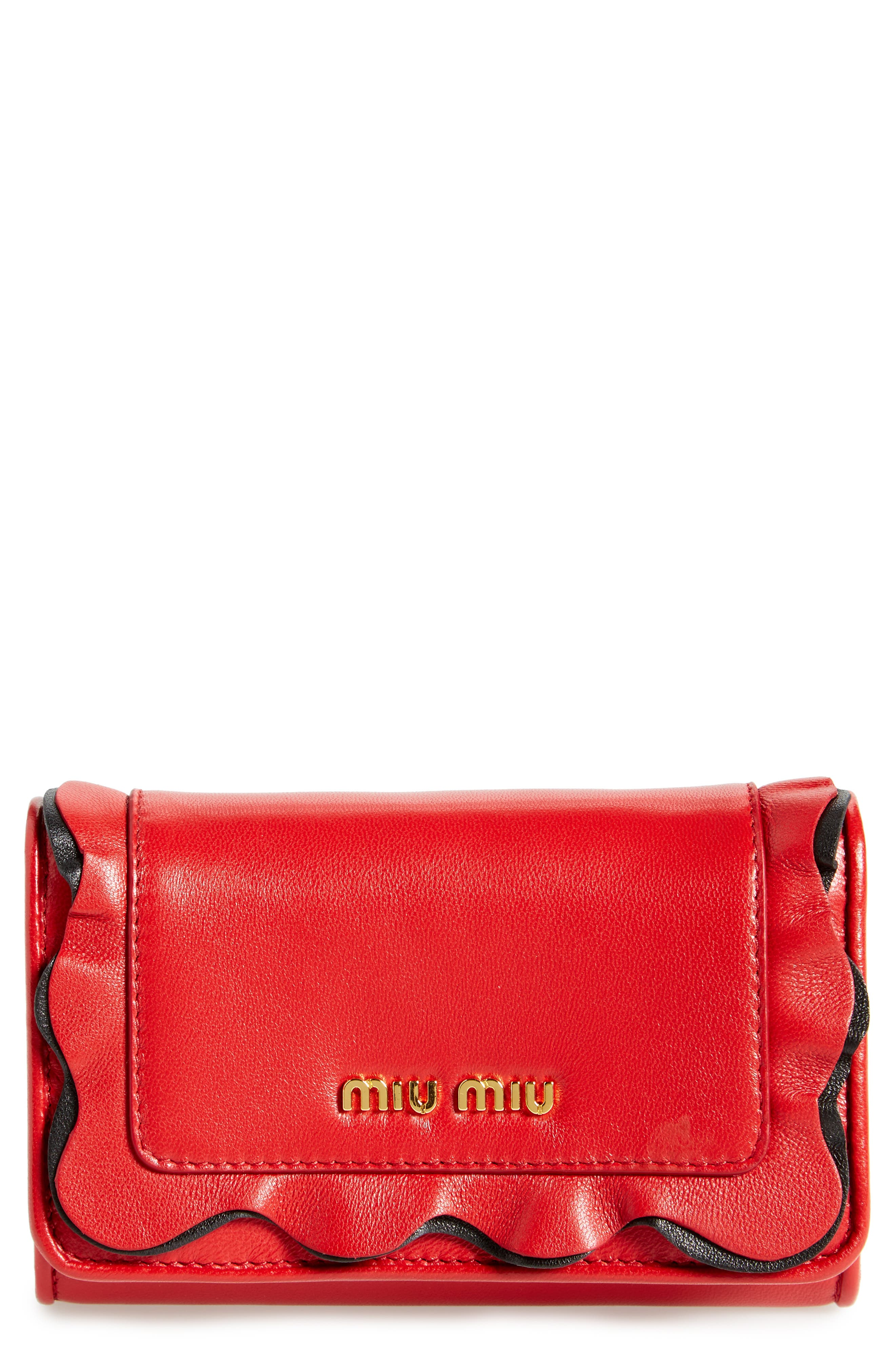 Miu Miu Rouches Nappa Leather French Wallet