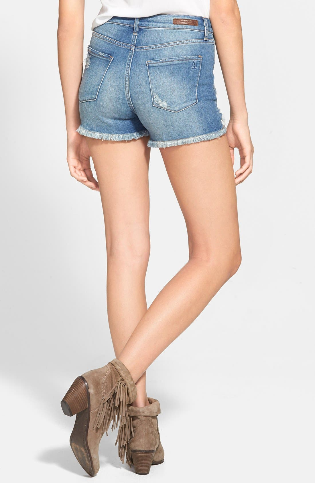 Alternate Image 2  - Articles of Society Distressed High Waist Denim Shorts (Medium Wash)