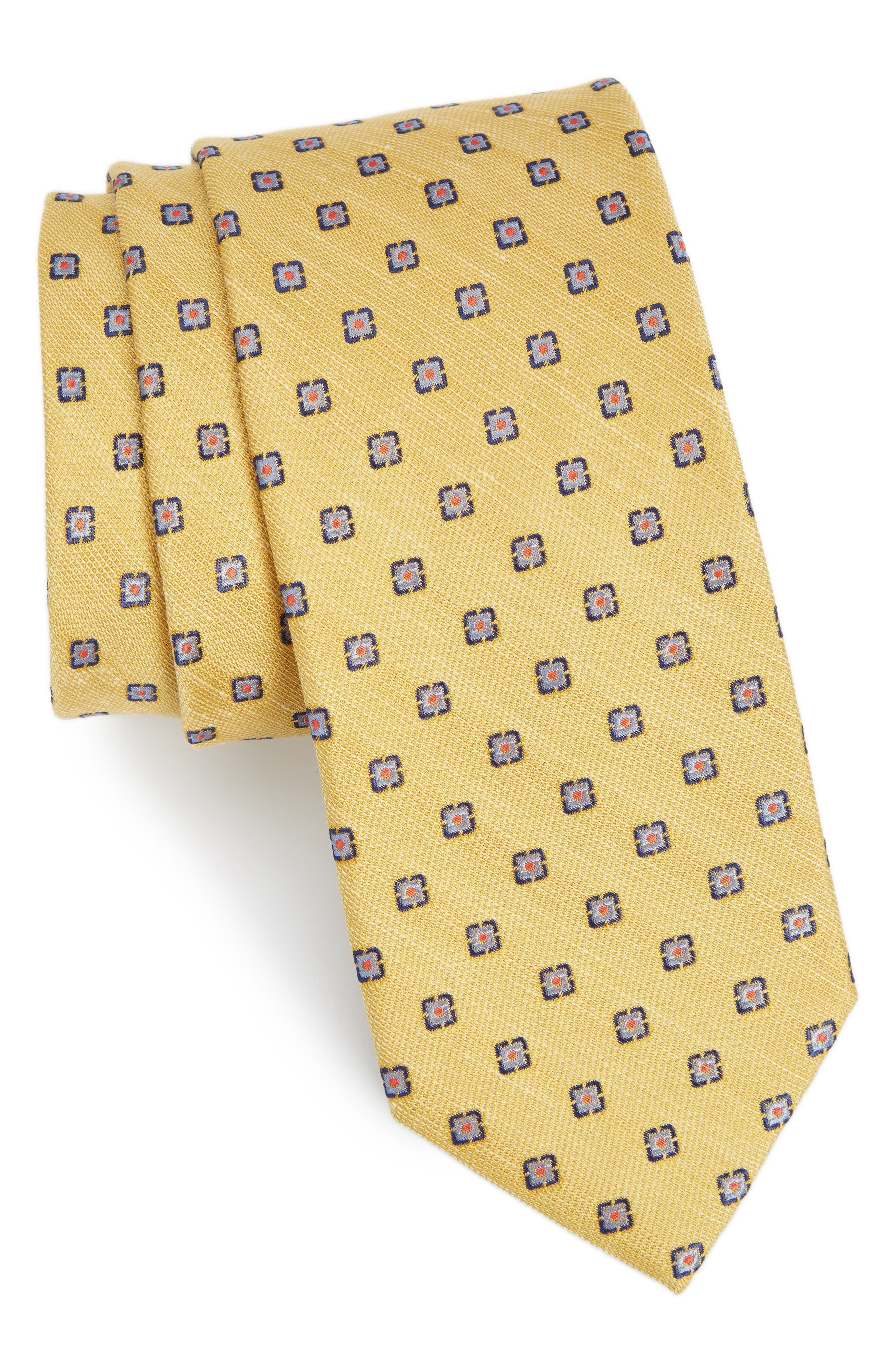 The Tie Bar Medallion Scene Silk & Linen Tie