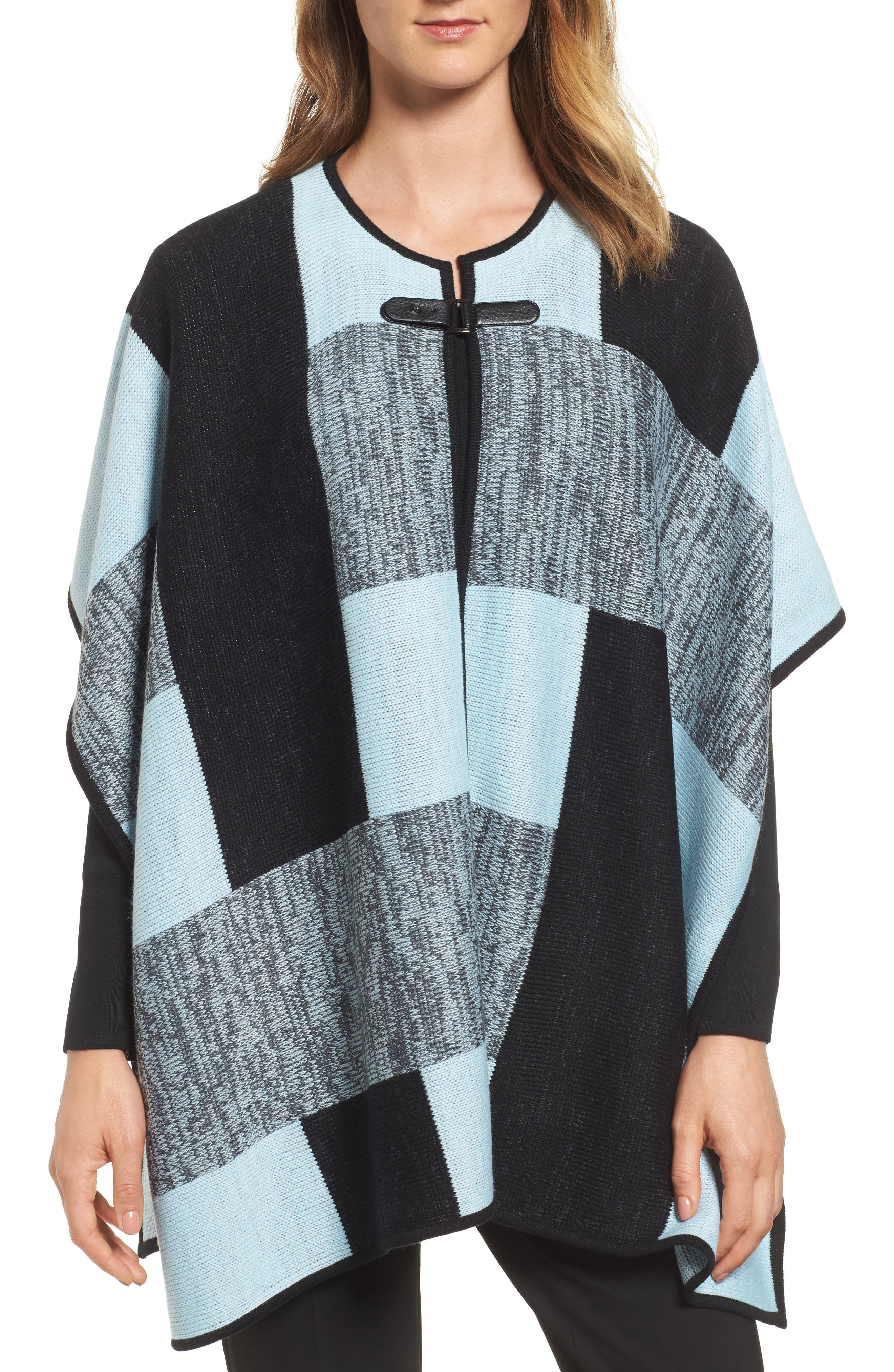 Ming Wang Buckle Front Poncho Cardigan