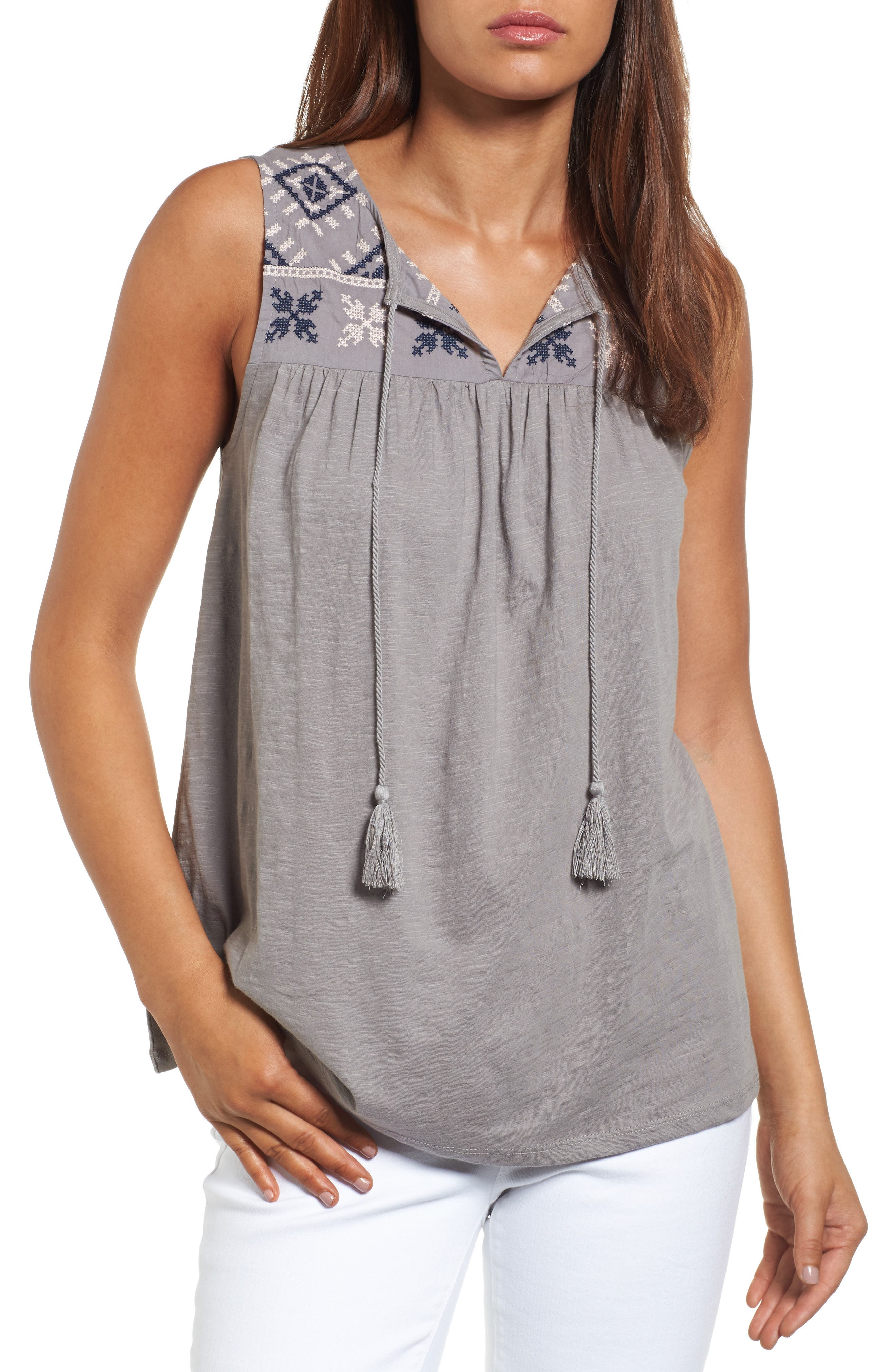 Caslon® Embroidered Boho Tank (Regular & Petite)