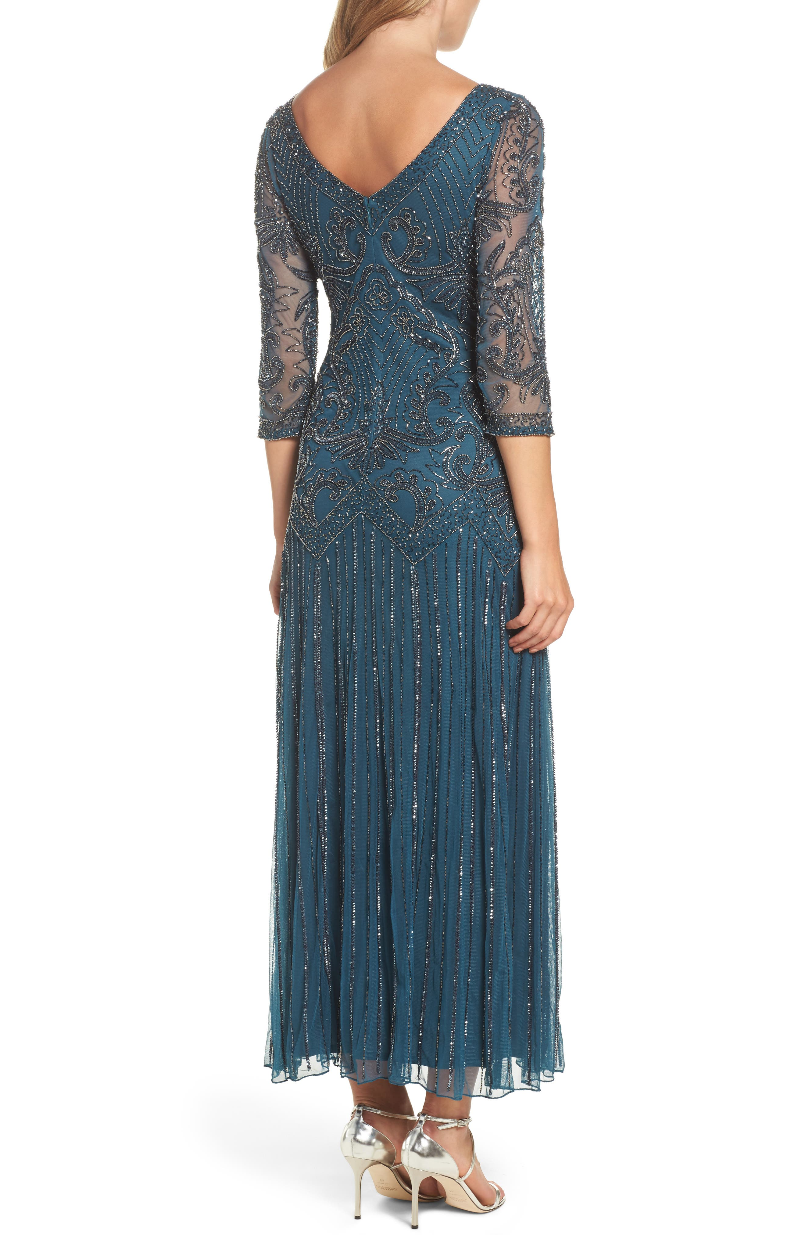 Alternate Image 2  - Pisarro Nights Embellished Mesh Drop Waist Dress (Regular & Petite)