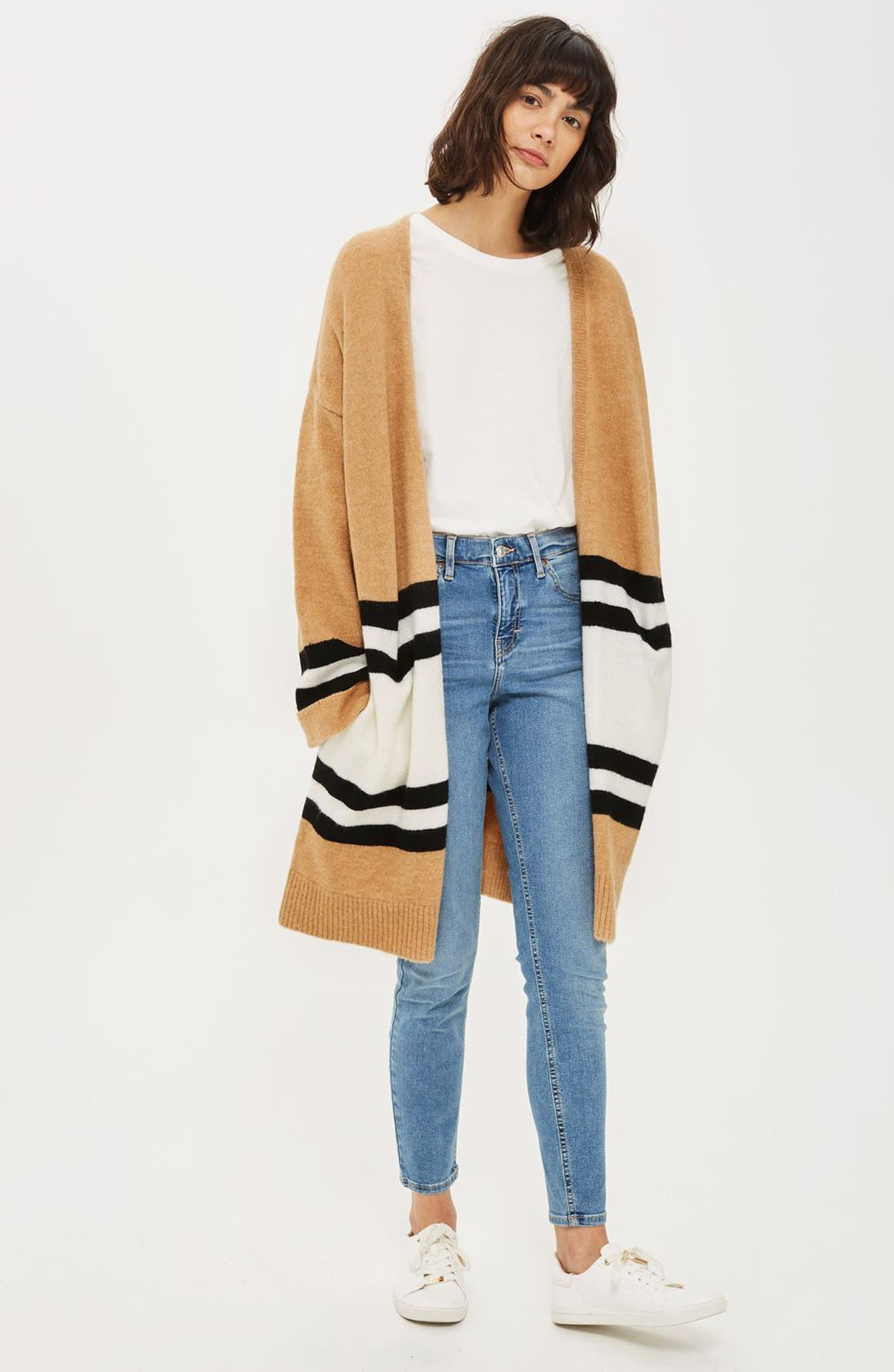 Alternate Image 2  - Topshop Stripe Colorblock Cardigan