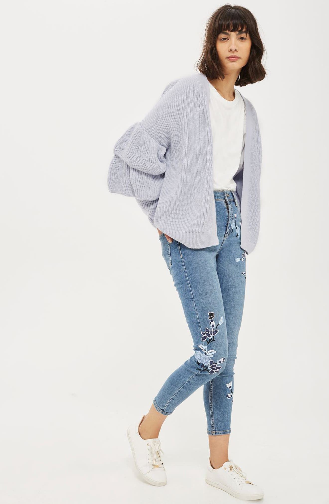 Alternate Image 2  - Topshop Layered Ruffle Sleeve Cardigan