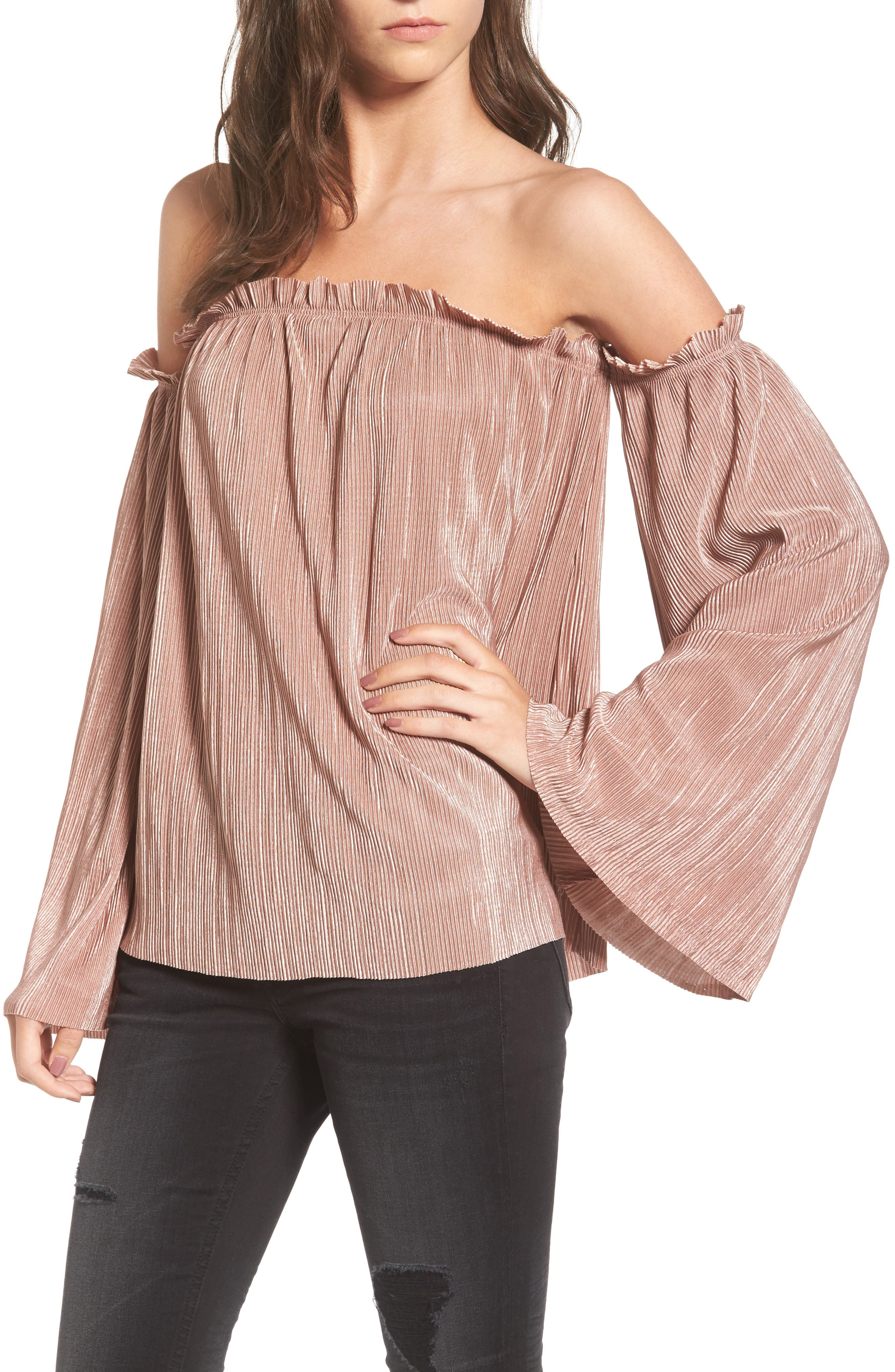 Mimi Chica Plissé Off the Shoulder Top