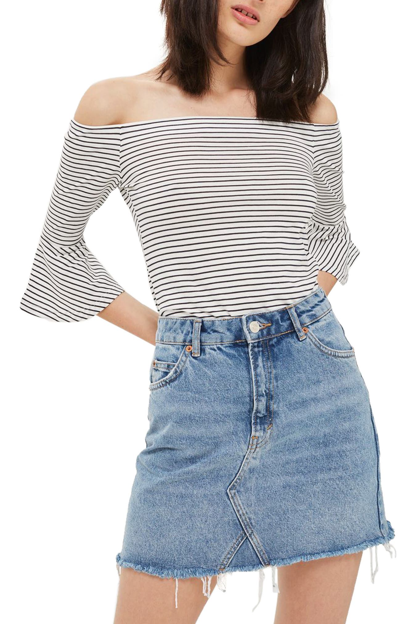 Topshop Stripe Off the Shoulder Bell Sleeve Top (Petite)