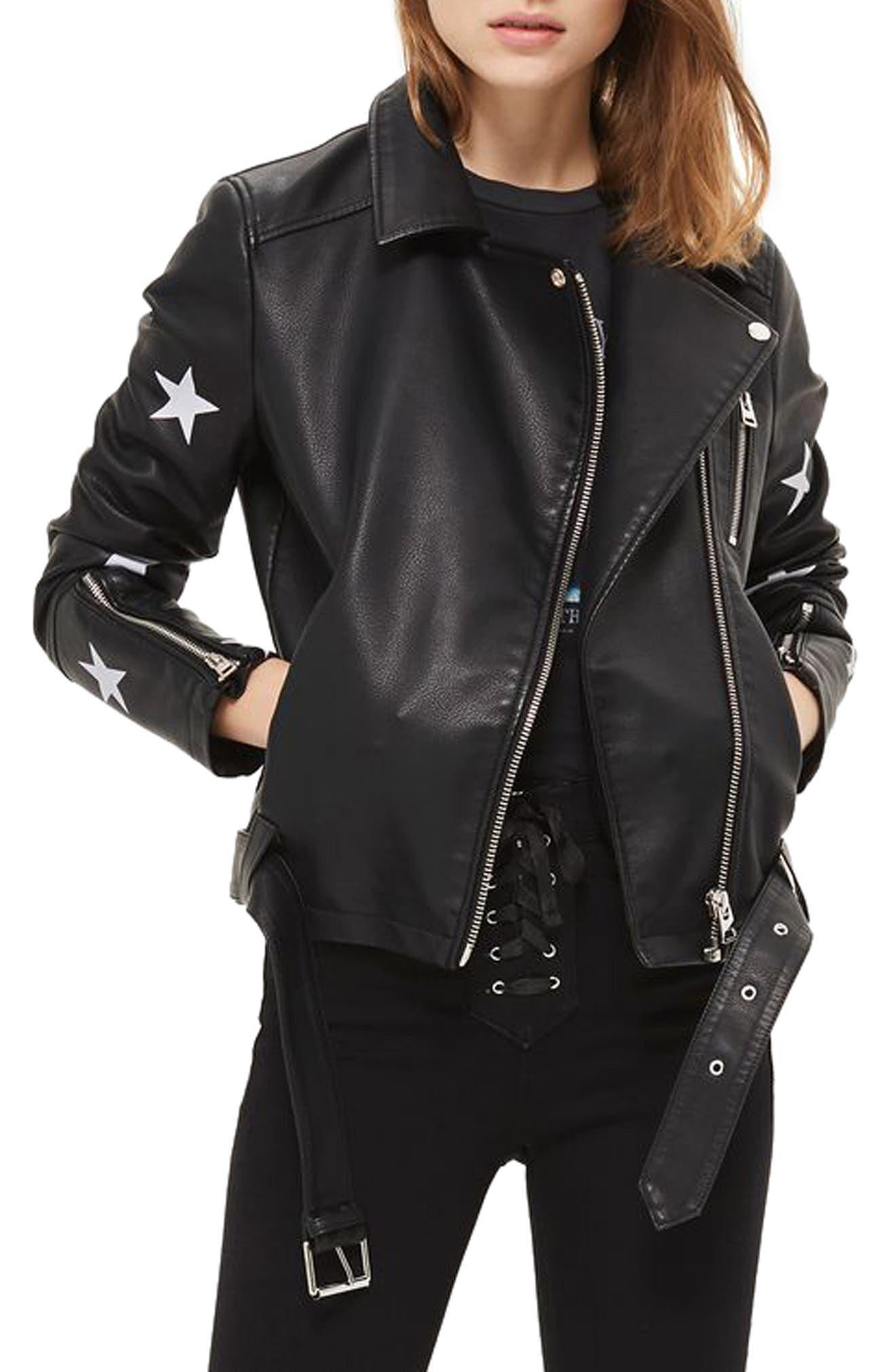 Main Image - Topshop Soul Faux Leather Biker Jacket