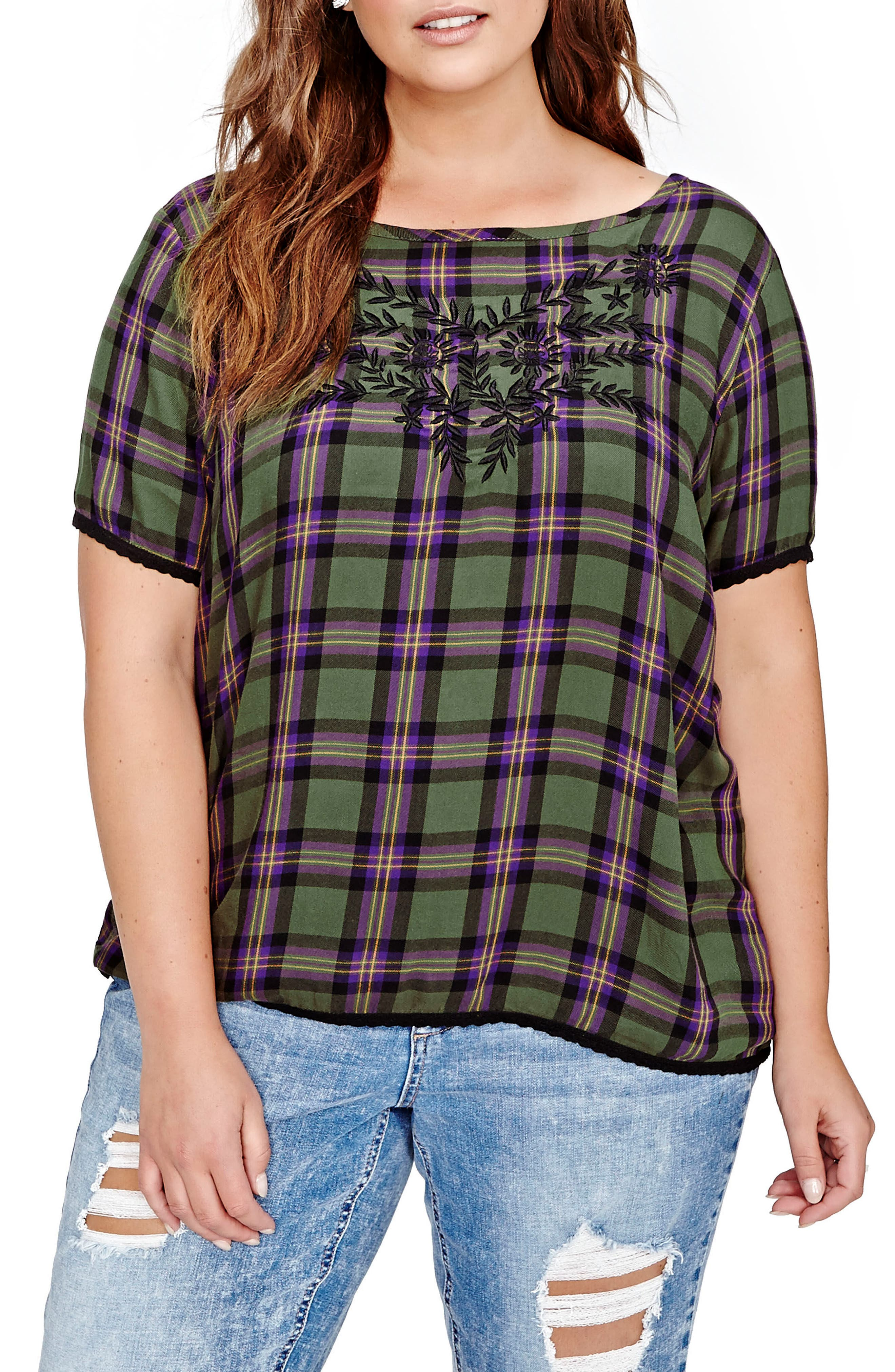 ADDITION ELLE LOVE AND LEGEND Embroidered Plaid Blouse (Plus Size)