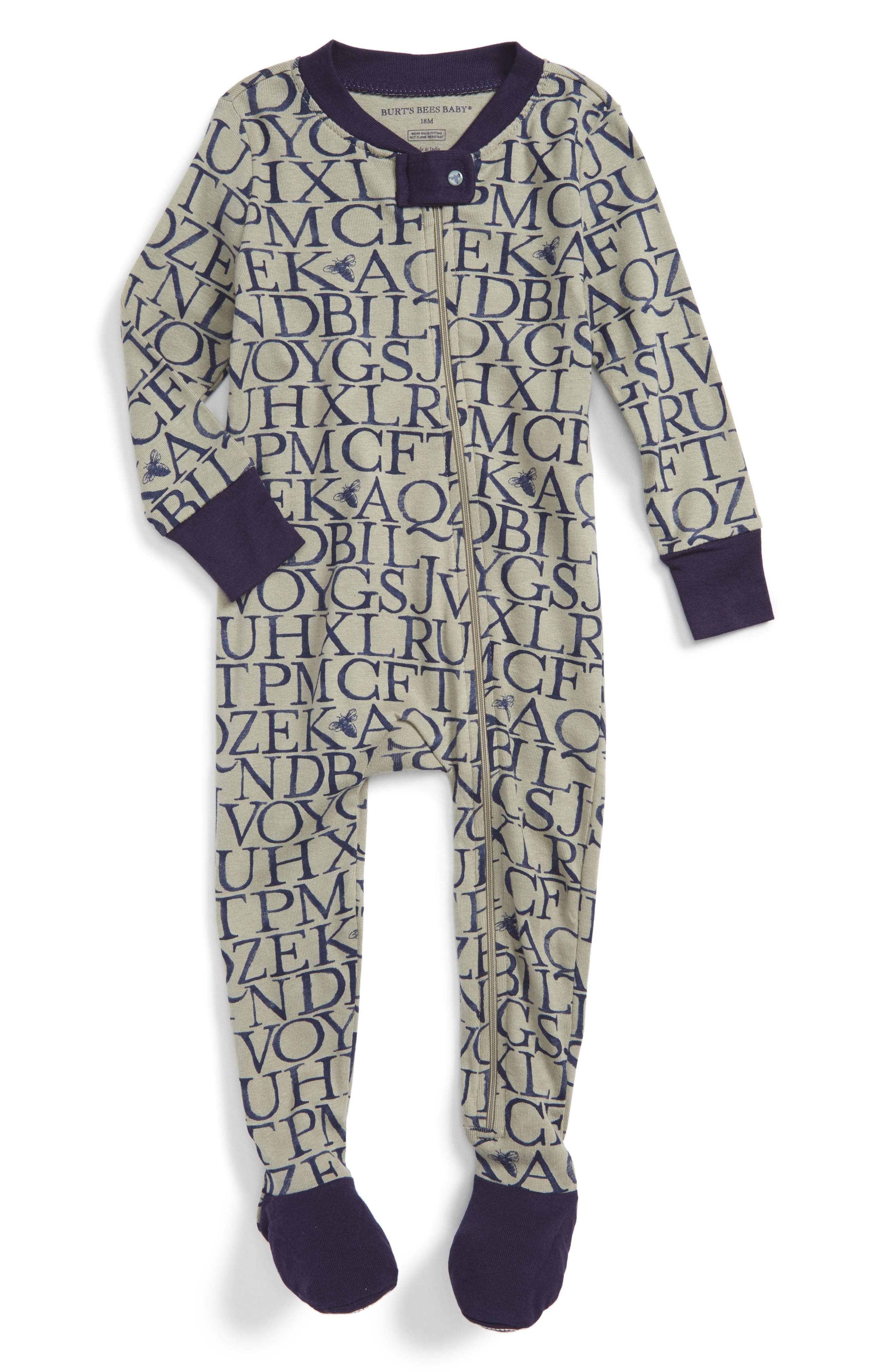 Burt's Bees Baby A Bee C Organic Cotton Fitted One-Piece Pajamas (Baby Boys)