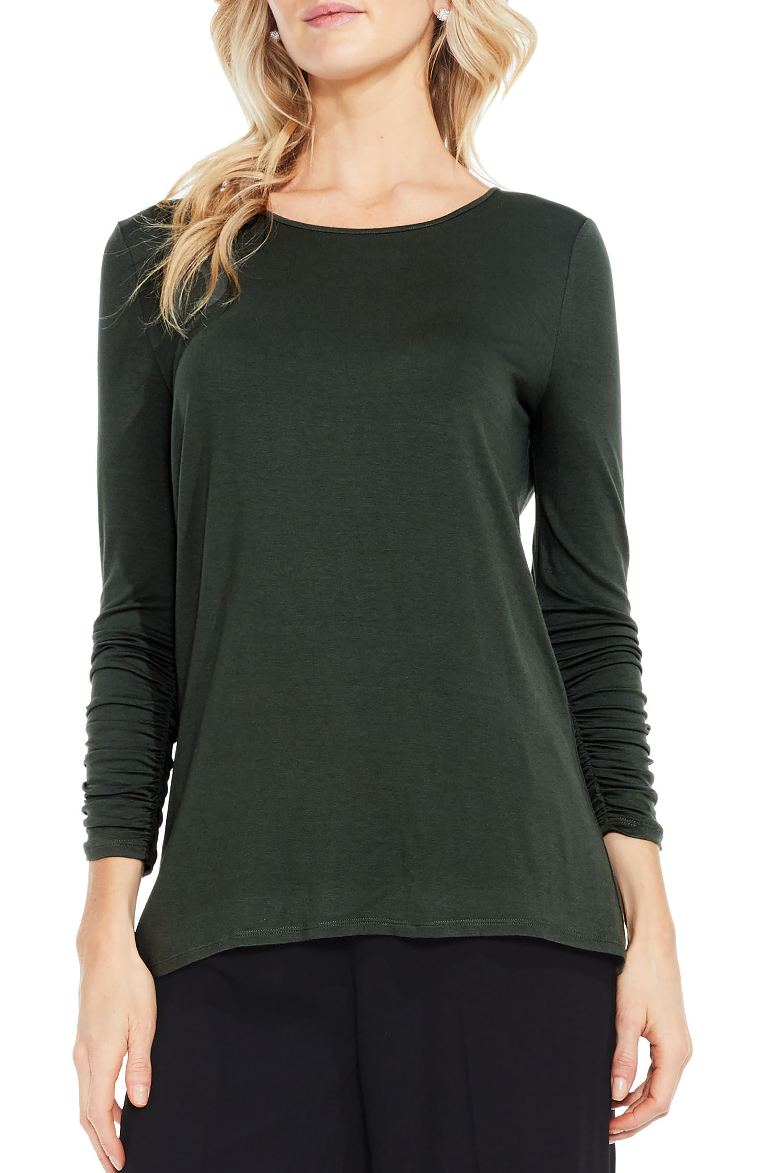 Vince Camuto Ruched Sleeve High/Low Top
