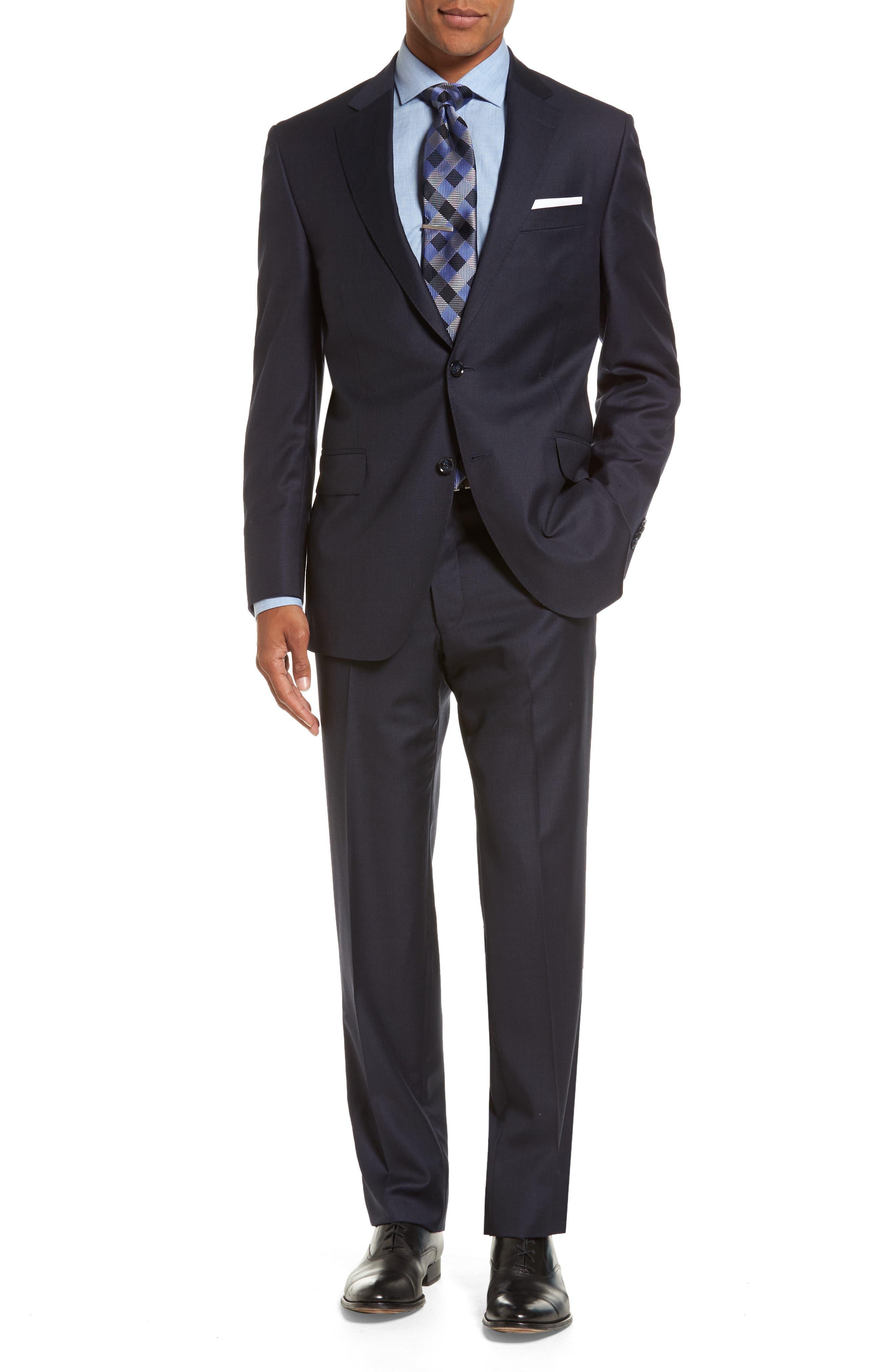 Peter Millar Flynn Classic Fit Plaid Wool Suit (Regular & Big)