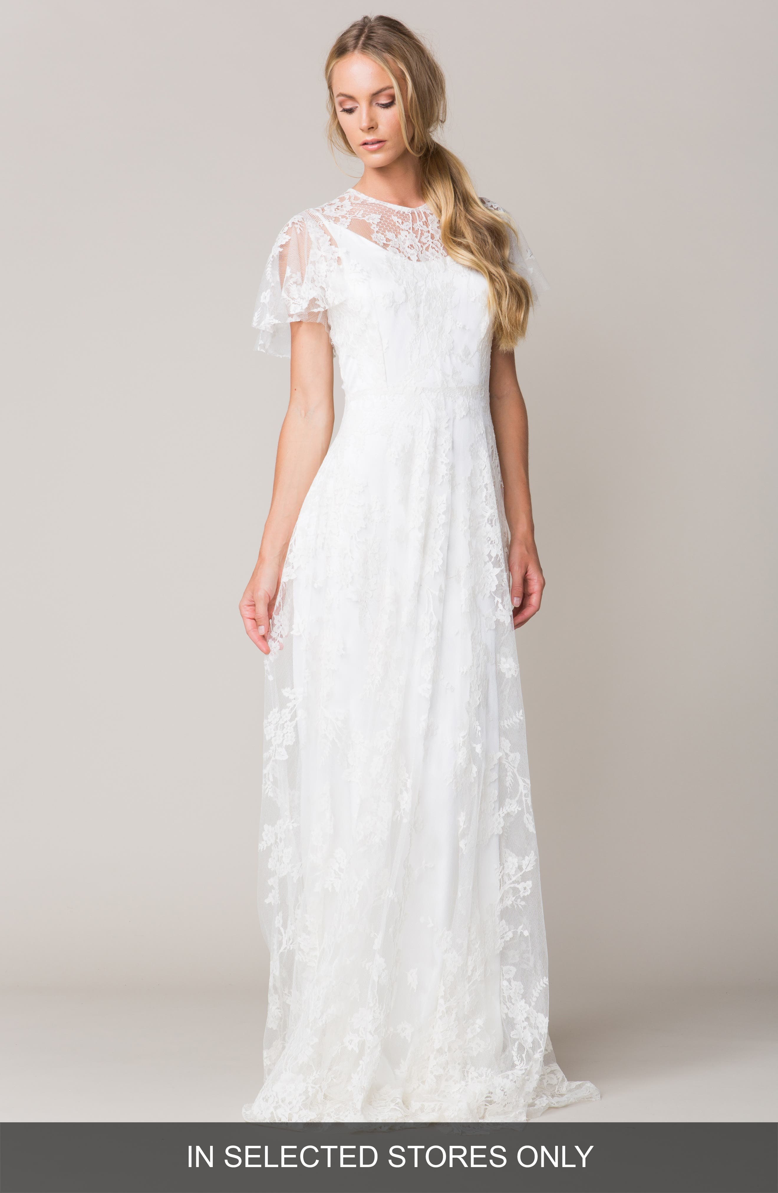 Sarah Seven 'Calais' Flutter Sleeve Lace A-Line Gown (In Stores Only)
