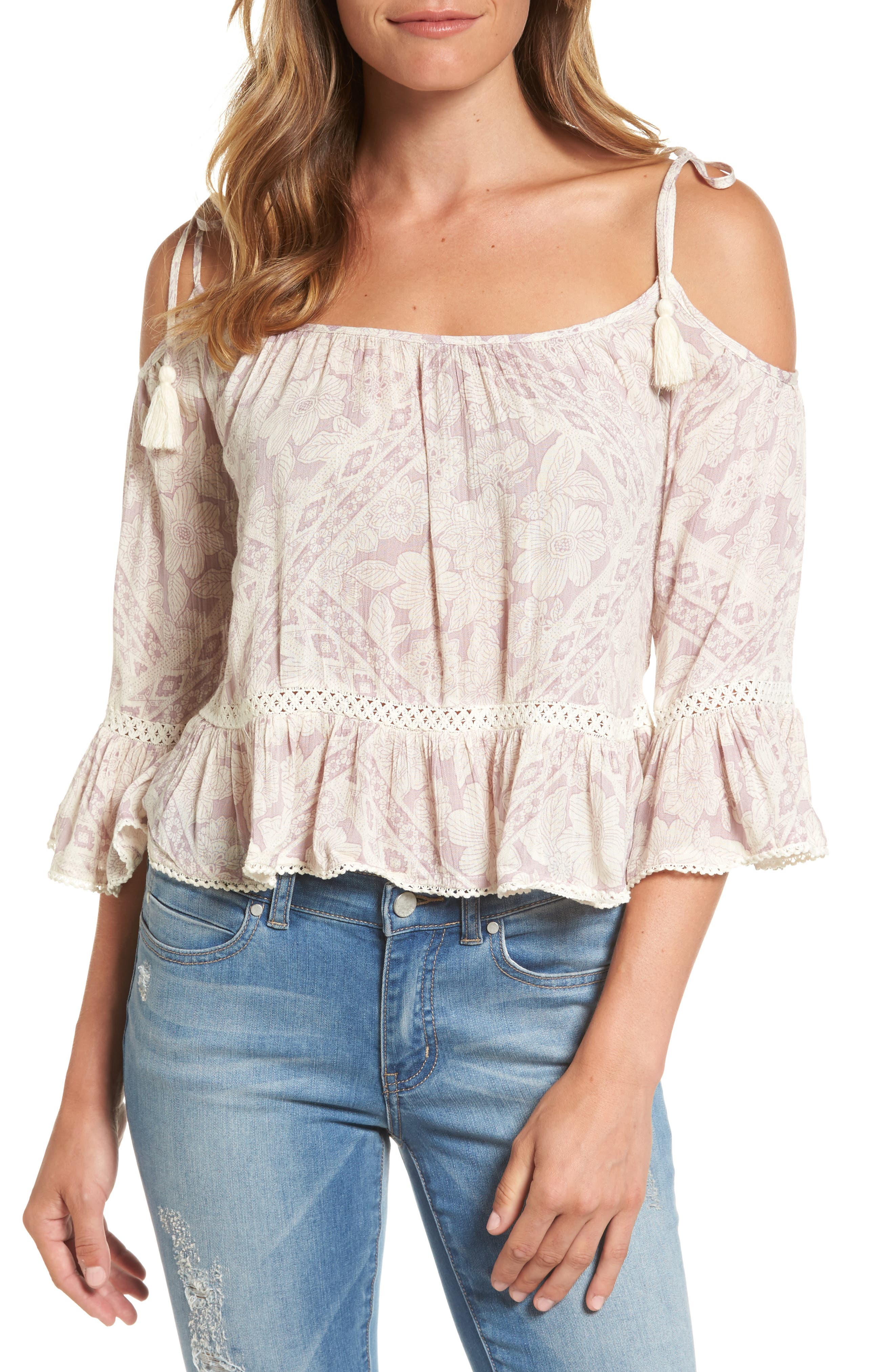 Dex Off the Shoulder Floral Print Top