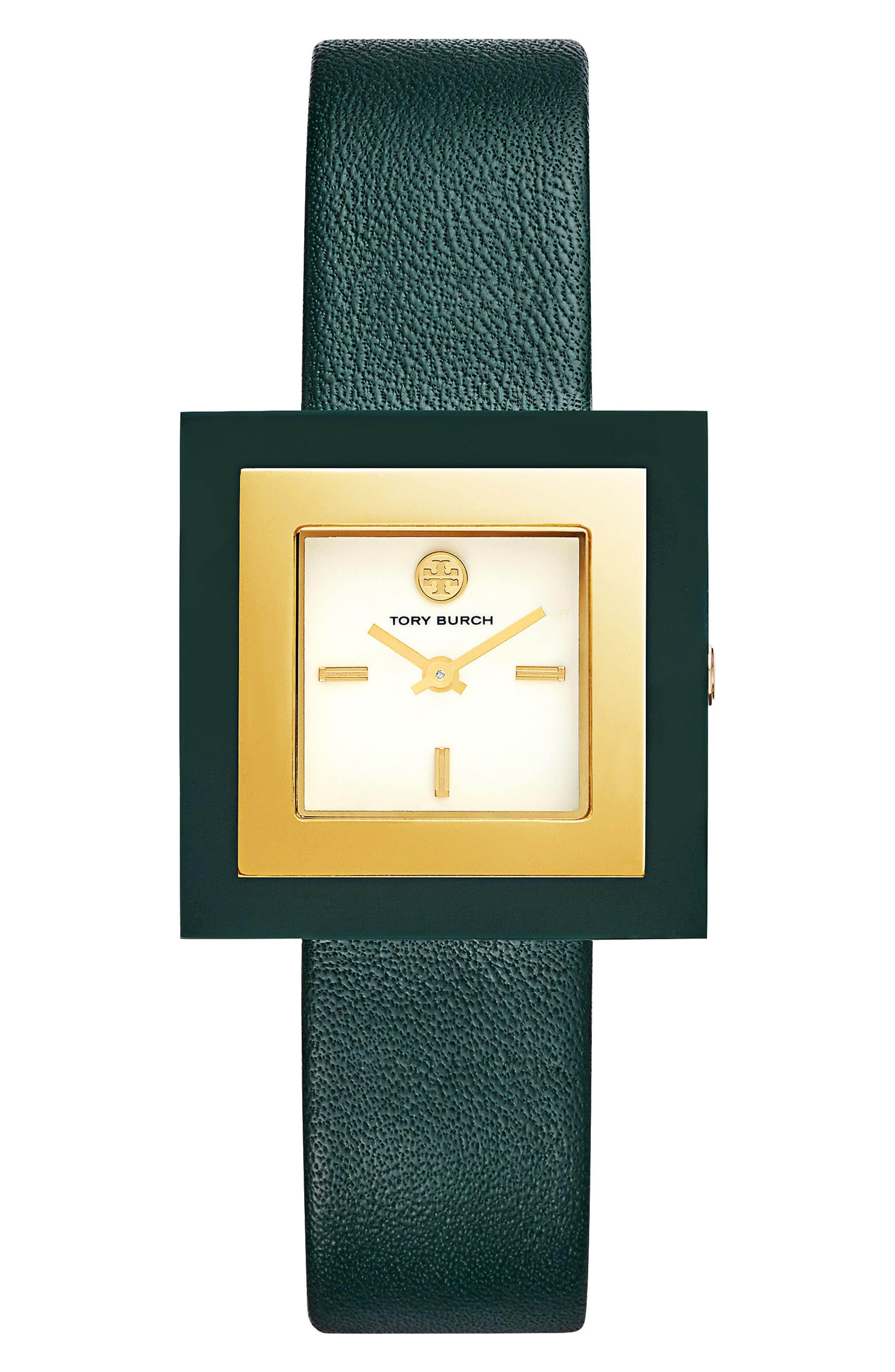 Tory Burch Sedgwick Square Leather Strap Watch, 33mm x 33mm