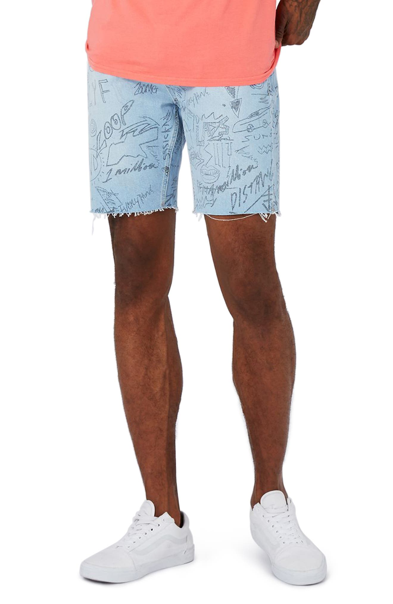 Topman Scribble Cutoff Denim Shorts