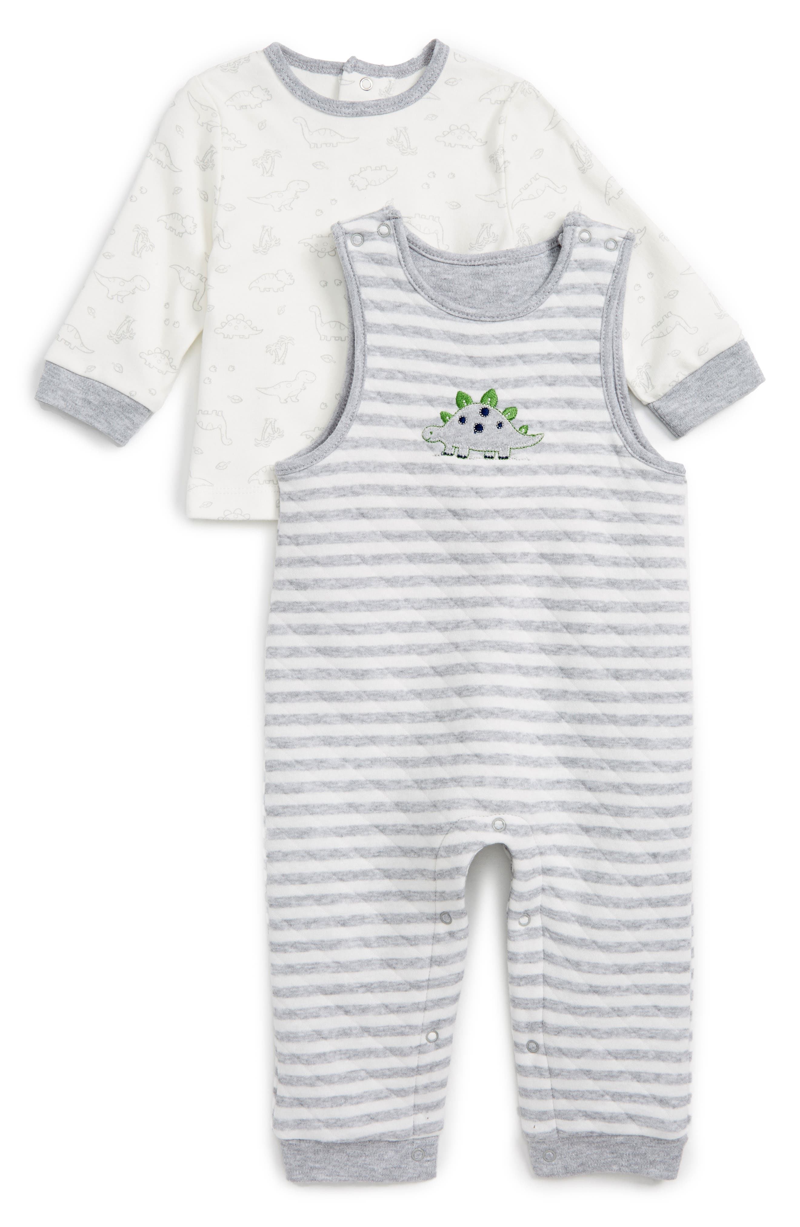 Little Me Dino T-Shirt & Overalls Set (Baby Boys)