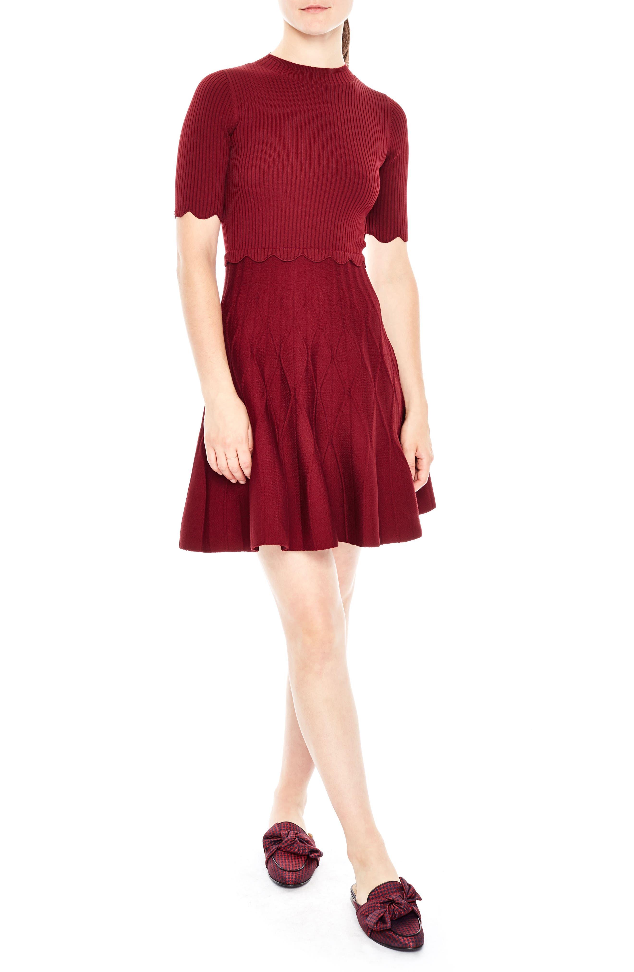 sandro Fit & Flare Knit Dress