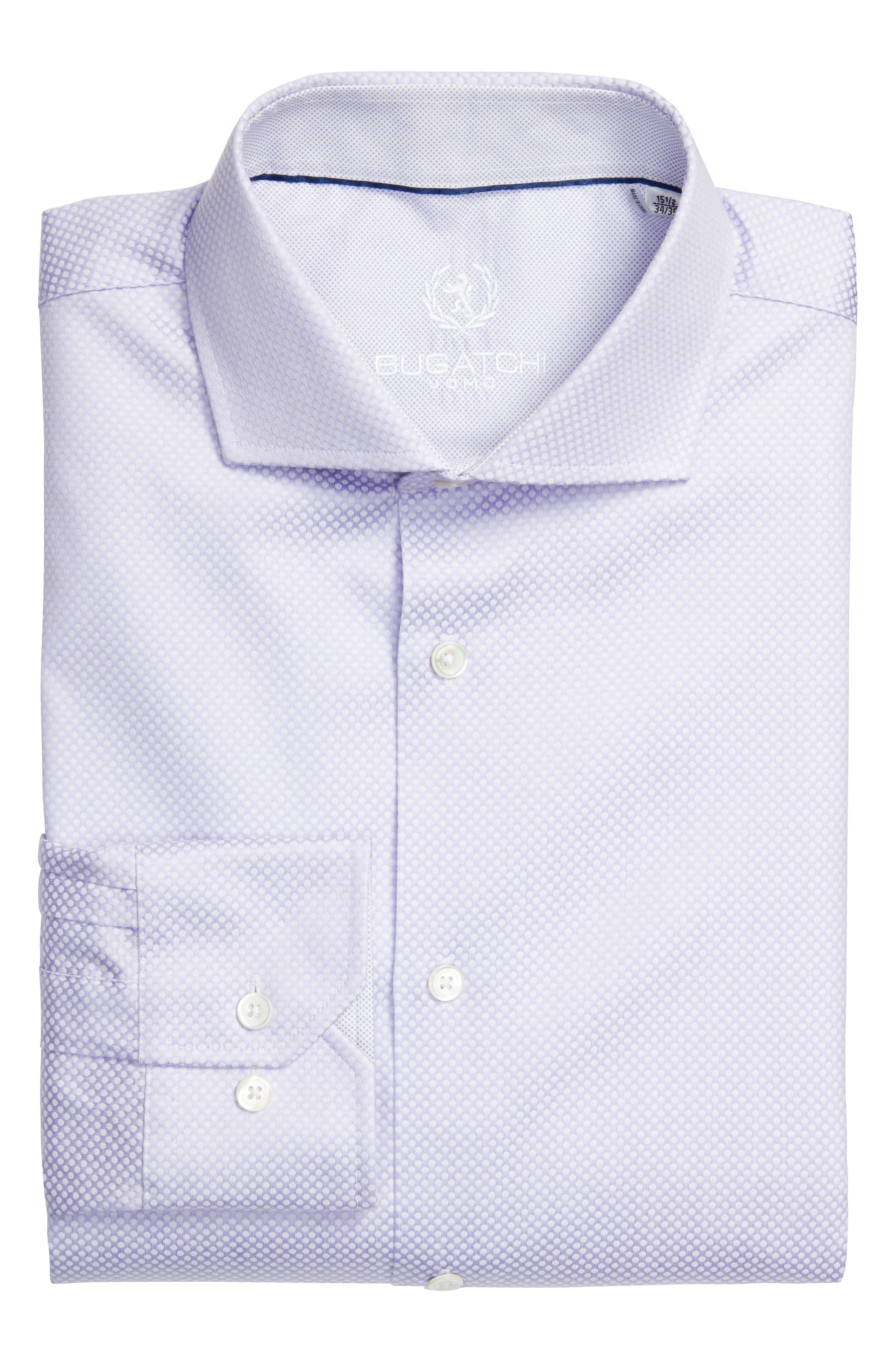 Bugatchi Trim Fit Dot Jacquard Dress Shirt