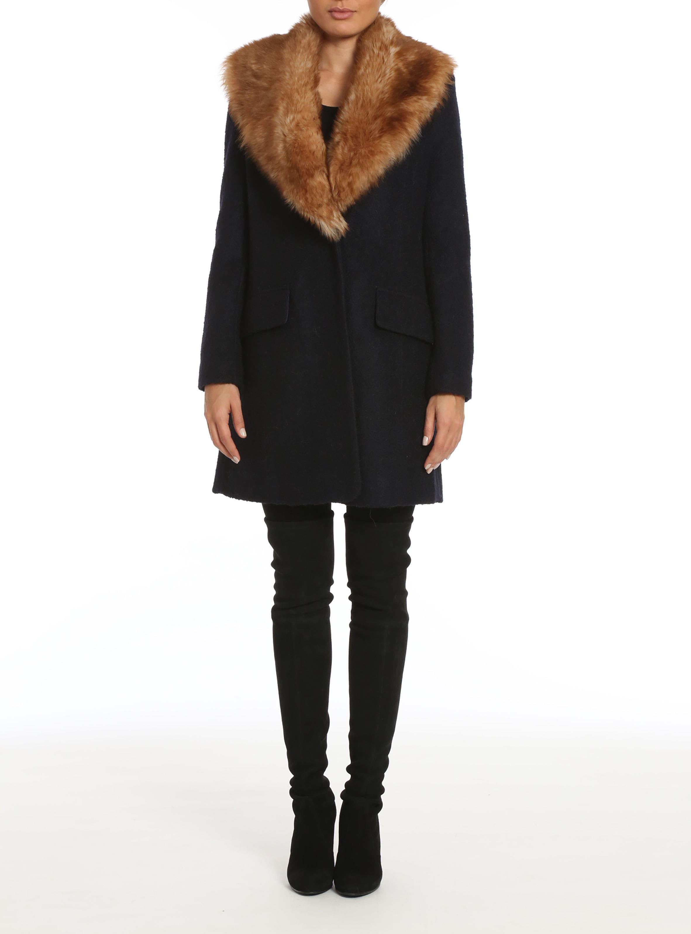 Belle Badgley Mischka 'Holly' Faux Fur Collar Bouclé Coat
