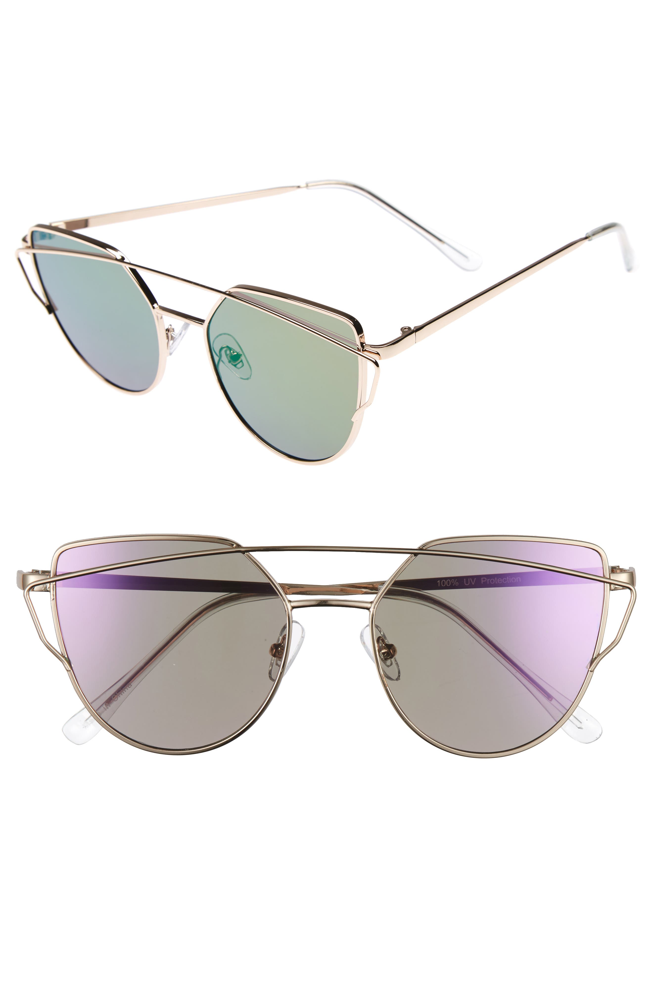 Main Image - BP. 51mm Thin Brow Angular Aviator Sunglasses