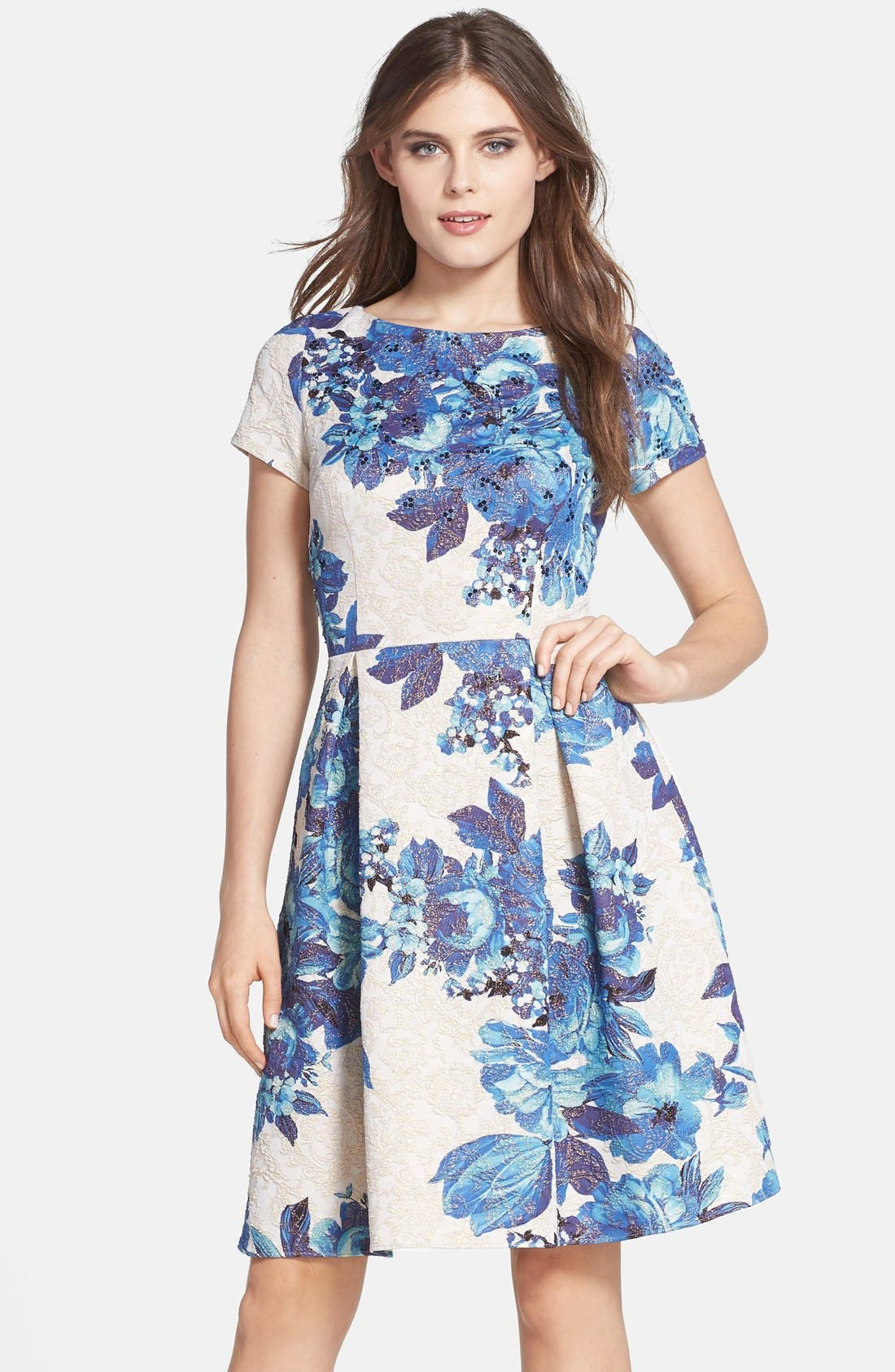 Main Image - Adrianna Papell Floral Matelassé Fit & Flare Dress