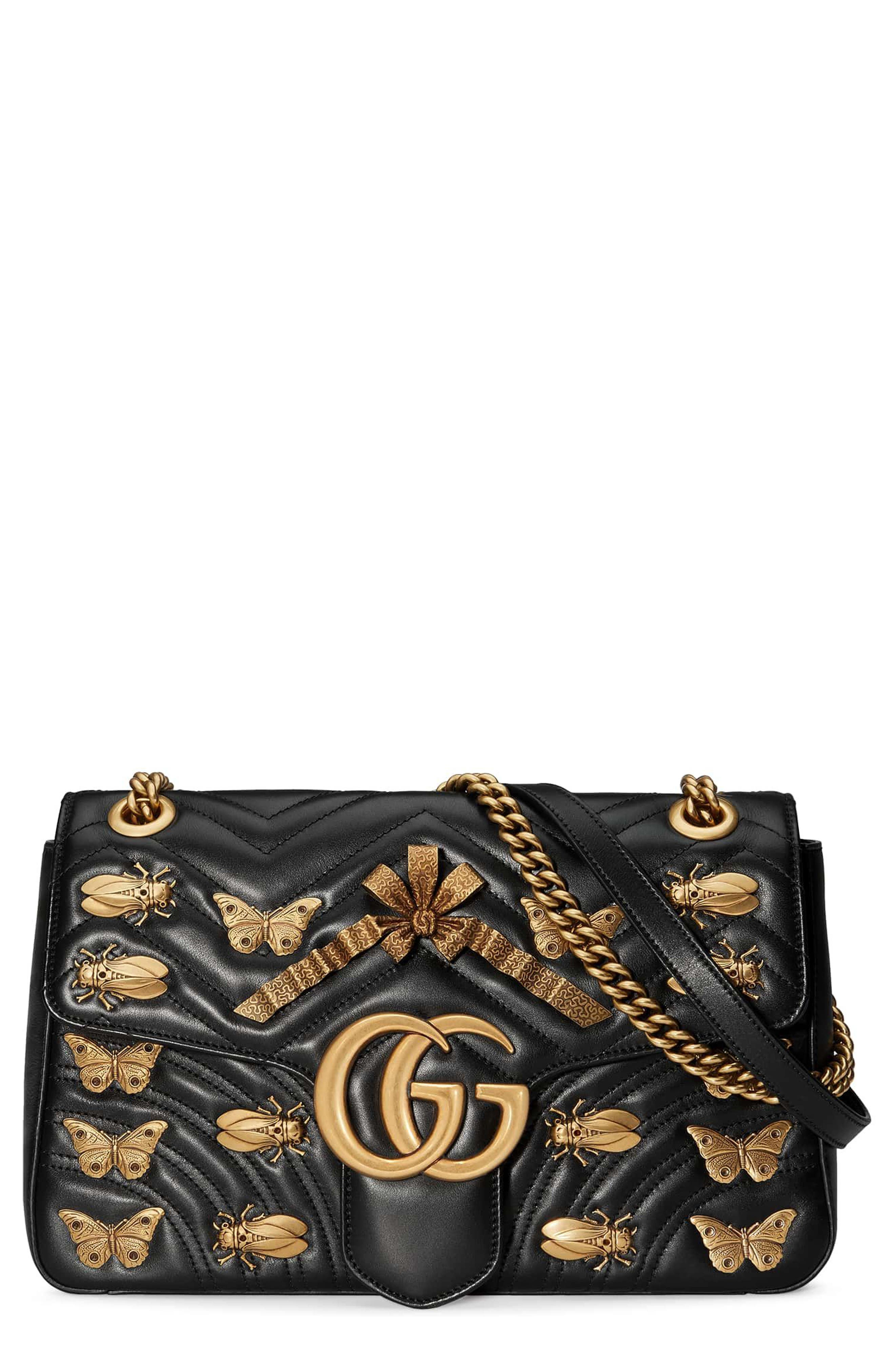 Gucci Medium GG Marmont 2.0 Animal Stud Matelassé Leather Shoulder Bag