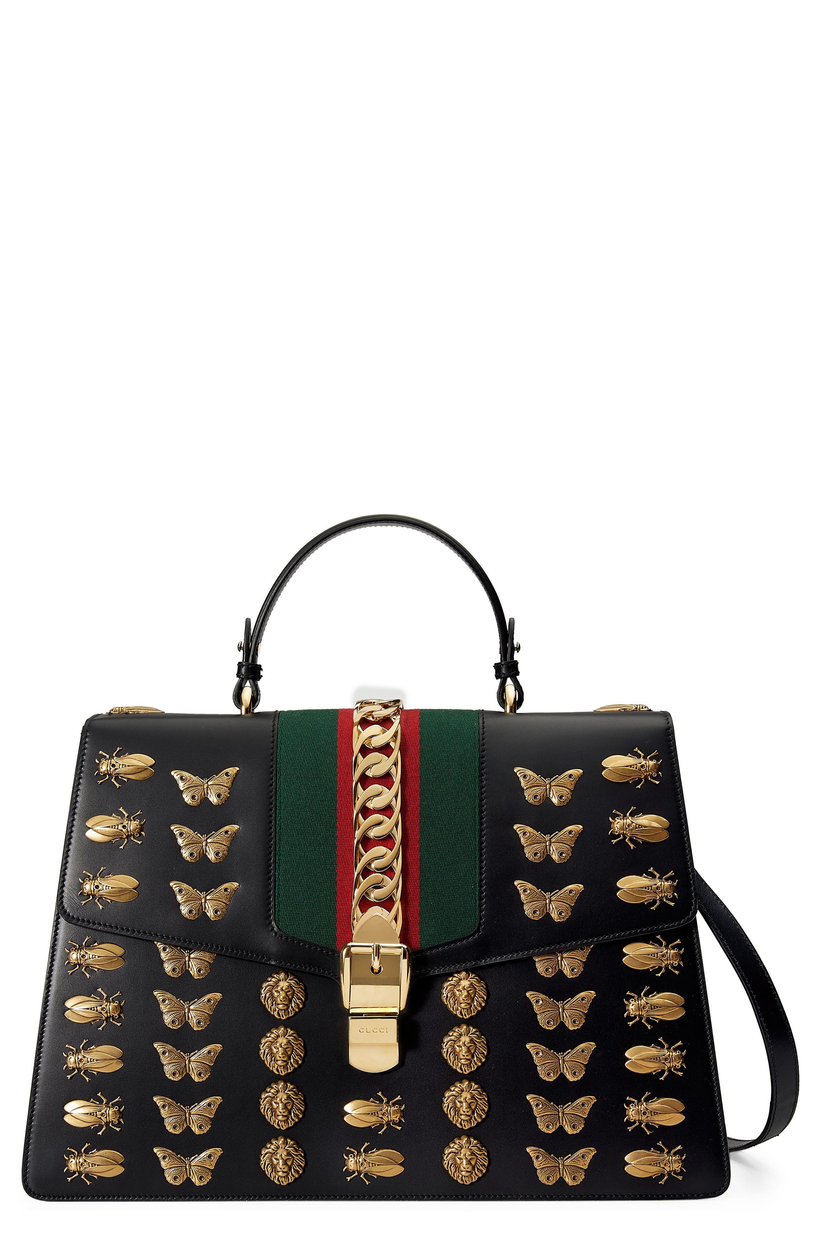 Gucci Maxi Sylvie Animal Stud Leather Shoulder Bag