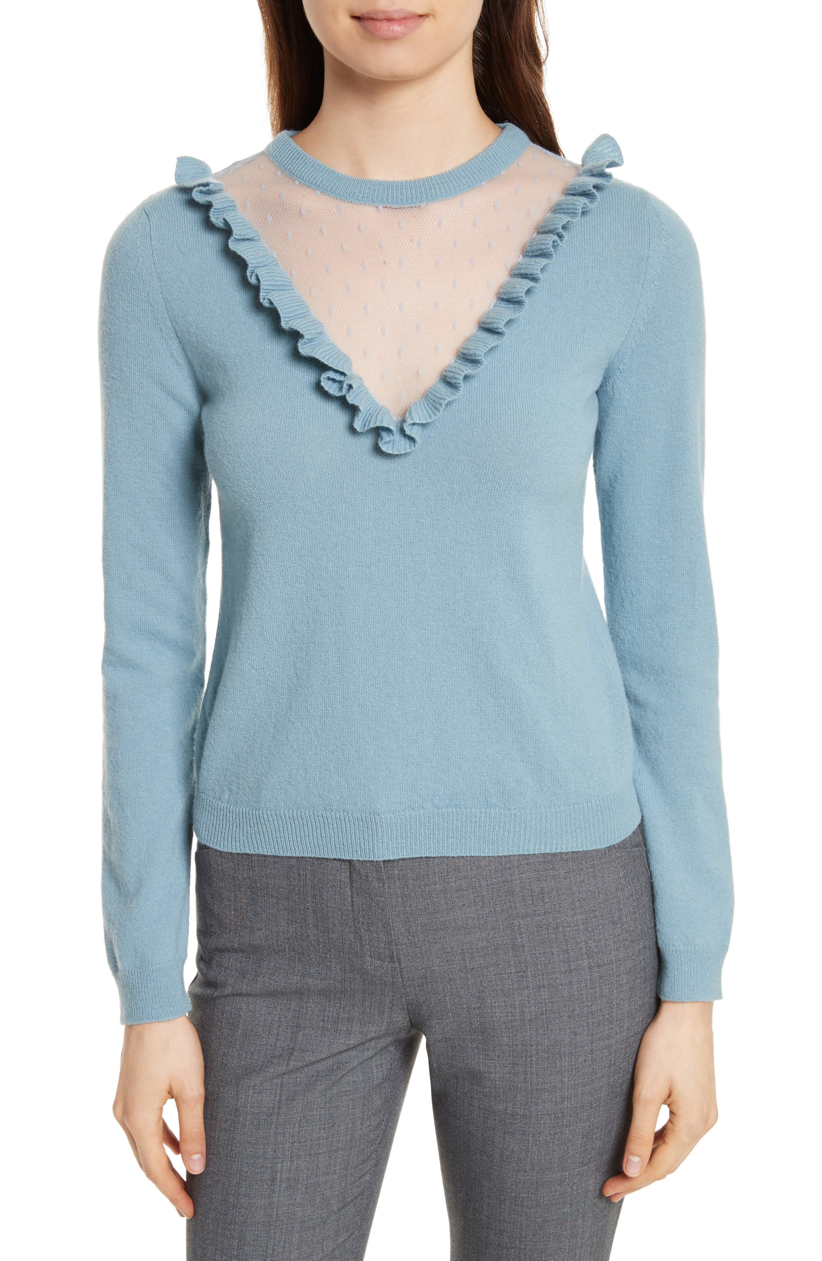 RED Valentino Point d'Esprit Inset Wool Sweater