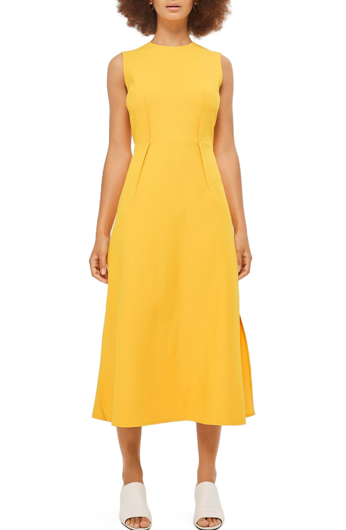 Topshop Open Back Tie Midi Dress