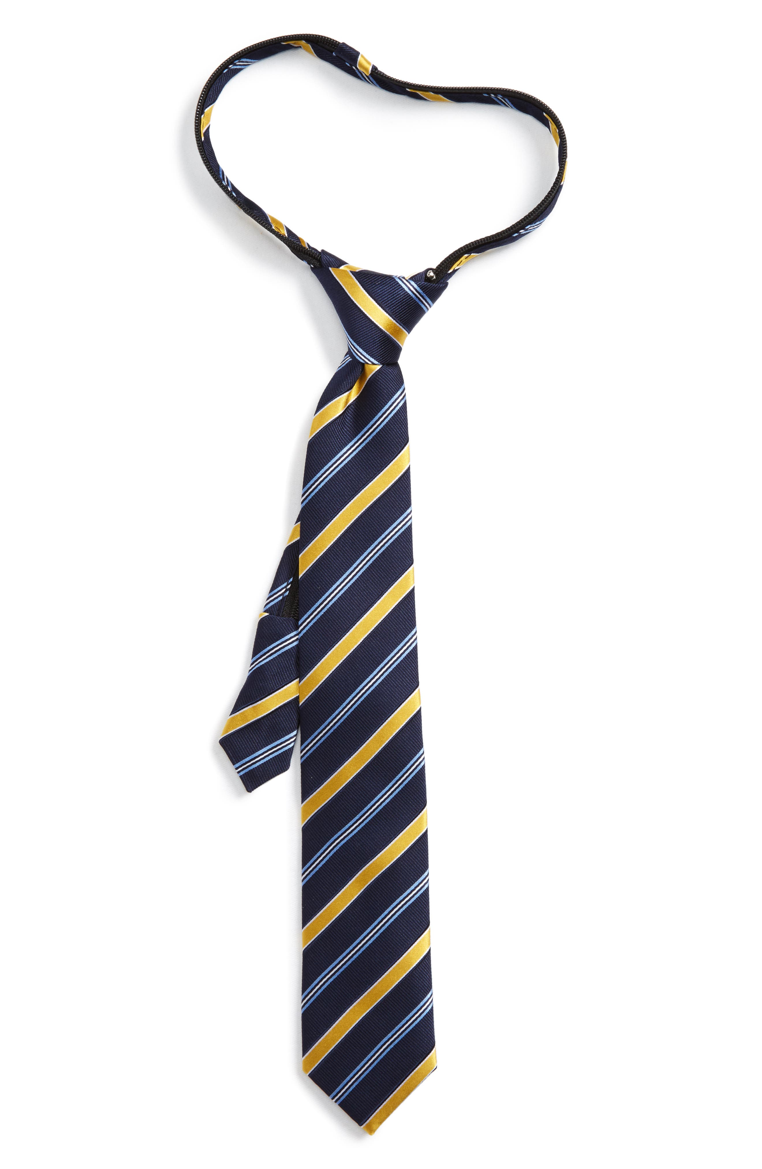 Nordstrom Stripe Silk Zip Tie (Boys)