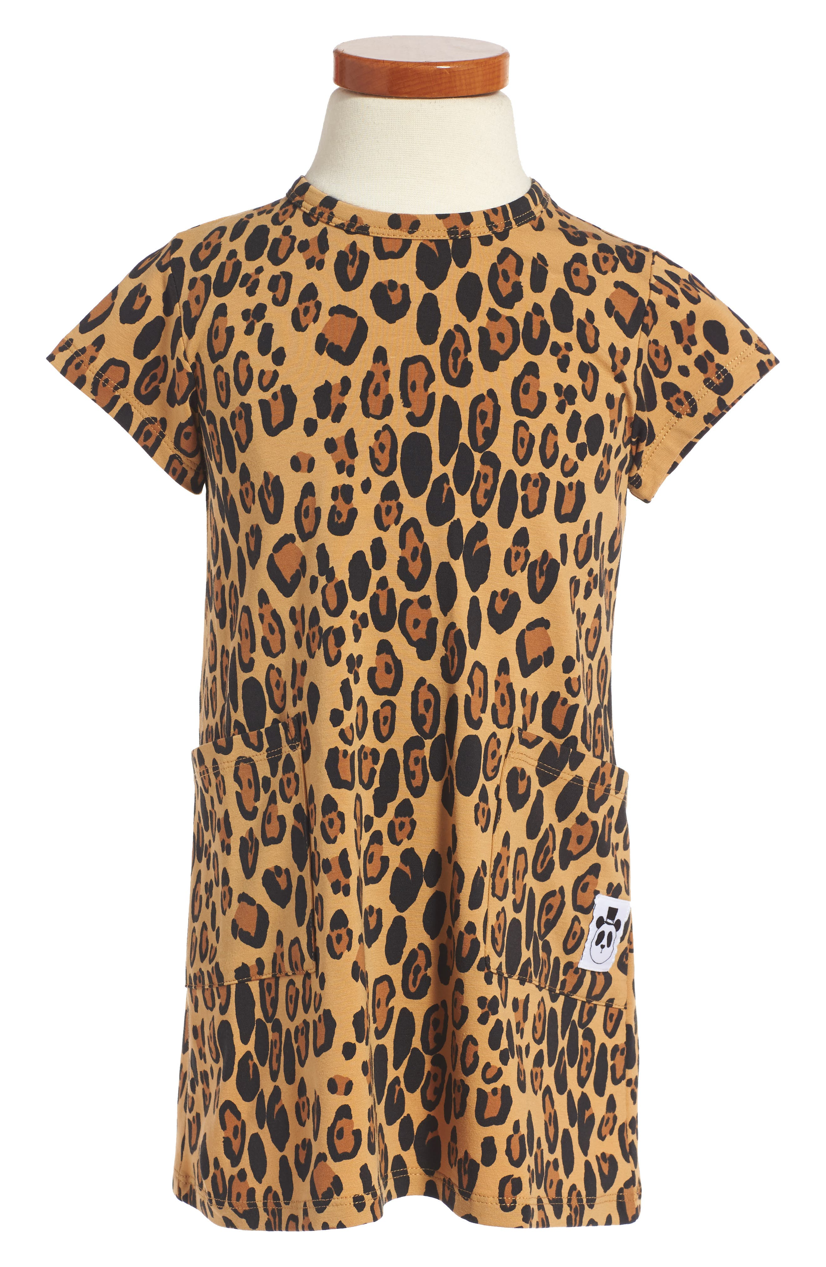 Mini Rodini Leopard Print Organic Cotton Basic Dress (Toddler Girls & Little Girls)