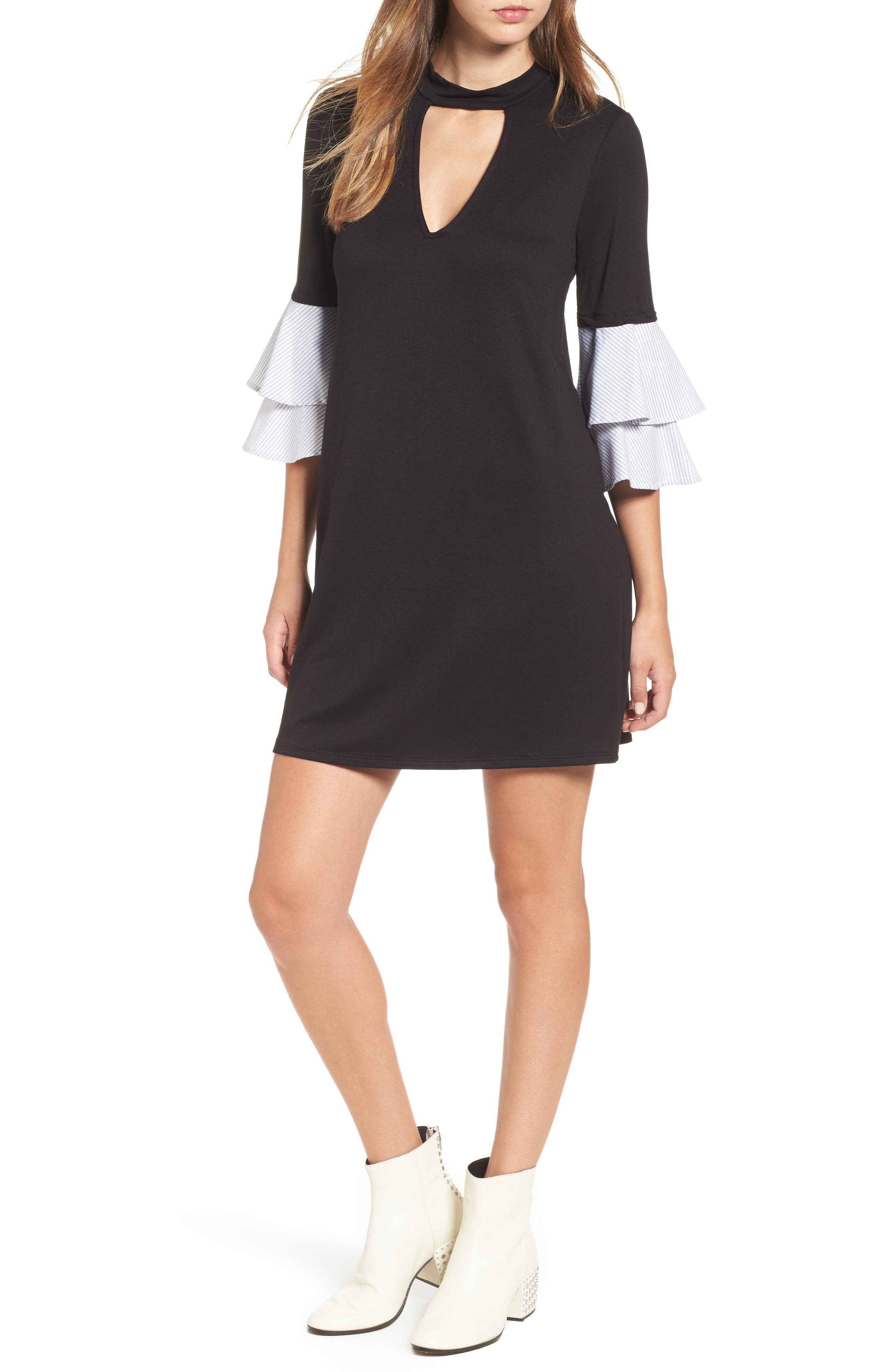 Socialite Poplin Sleeve Choker Dress