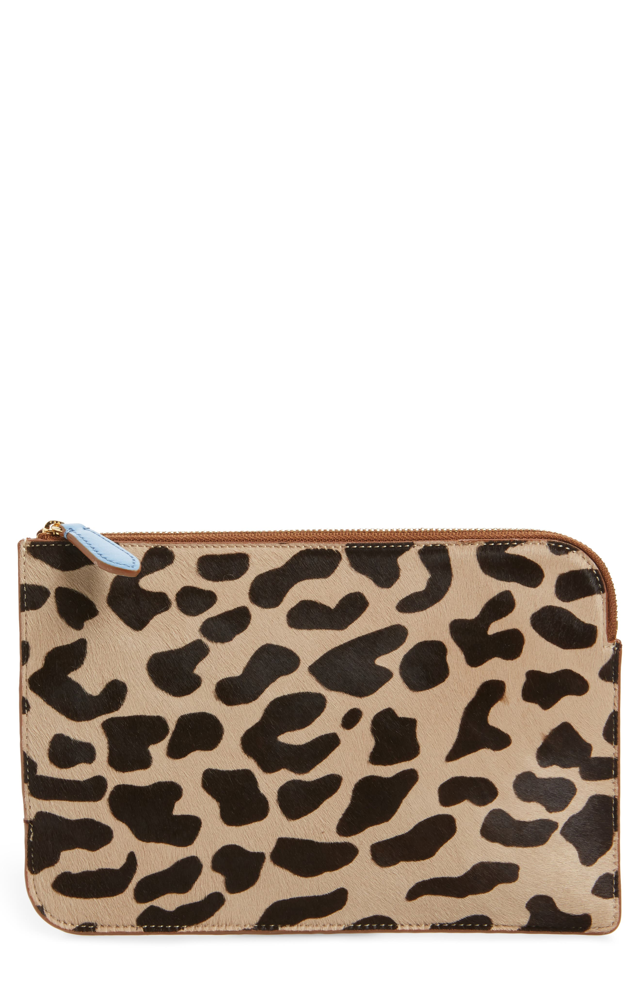 Diane von Furstenberg Medium Genuine Calf Hair & Leather Zip Pouch