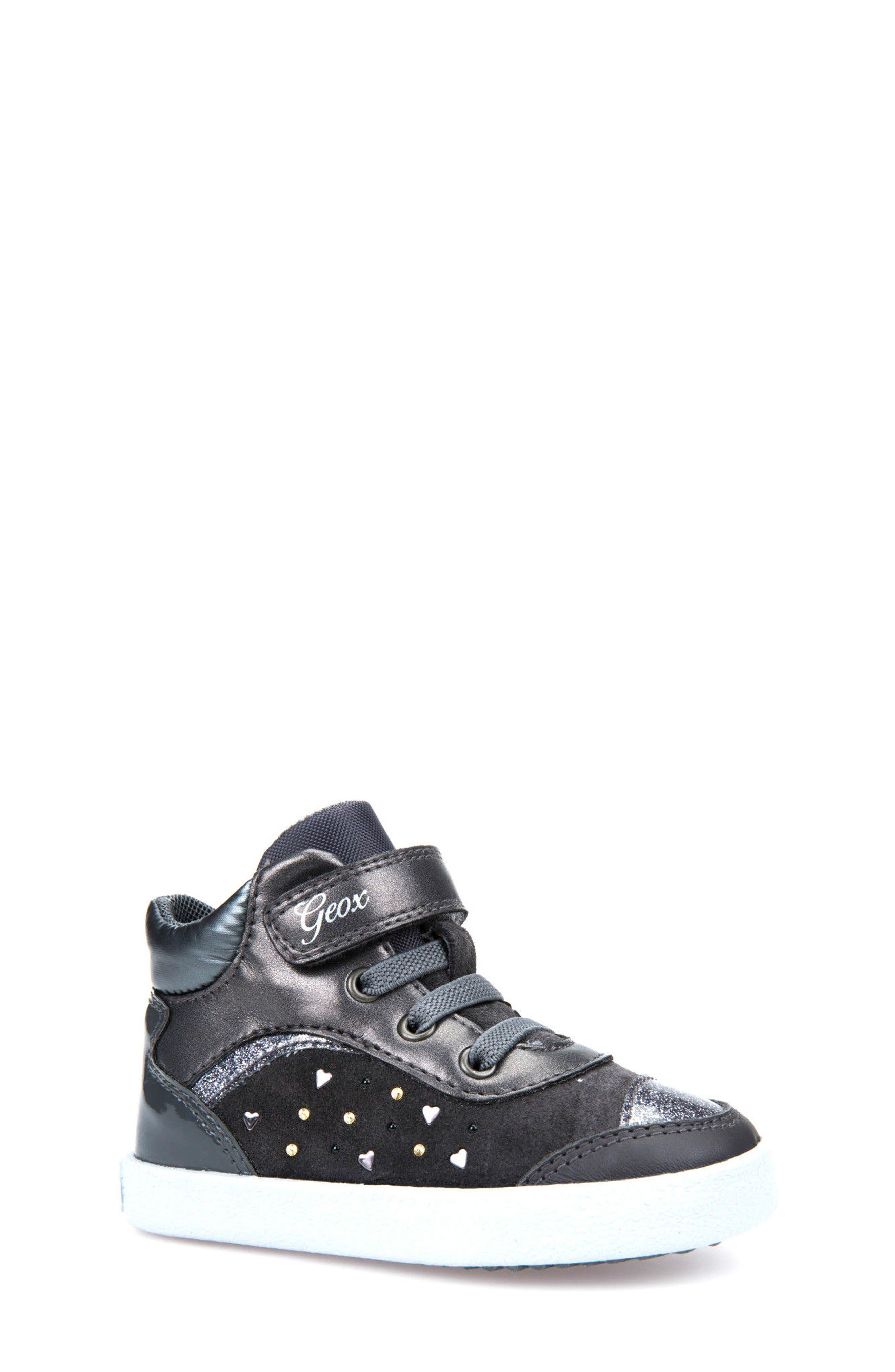 Geox Kiwi Girl Studded High Top Sneaker (Walker & Toddler)