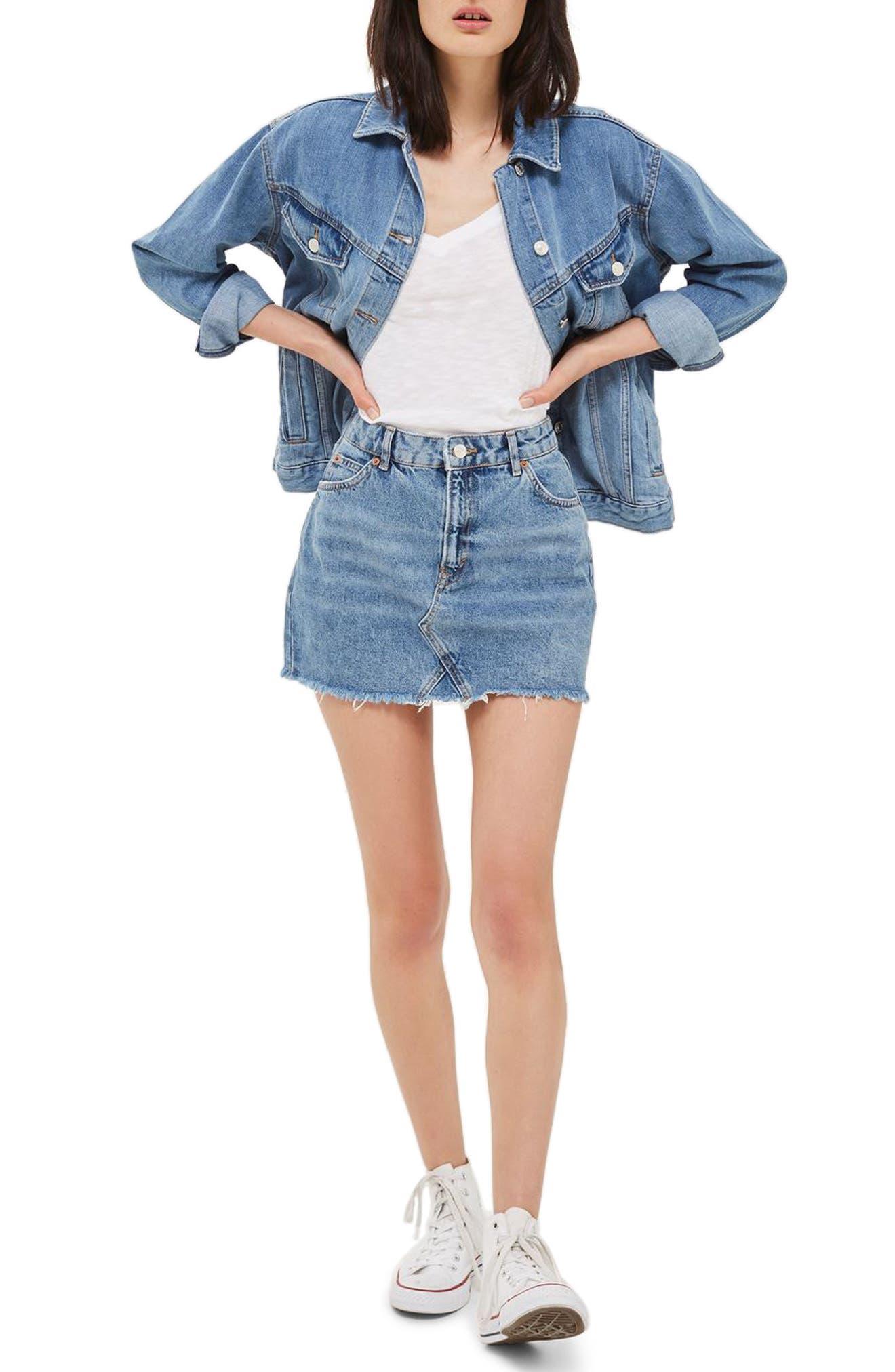 Topshop Jake Fray Hem Denim Miniskirt (Petite)