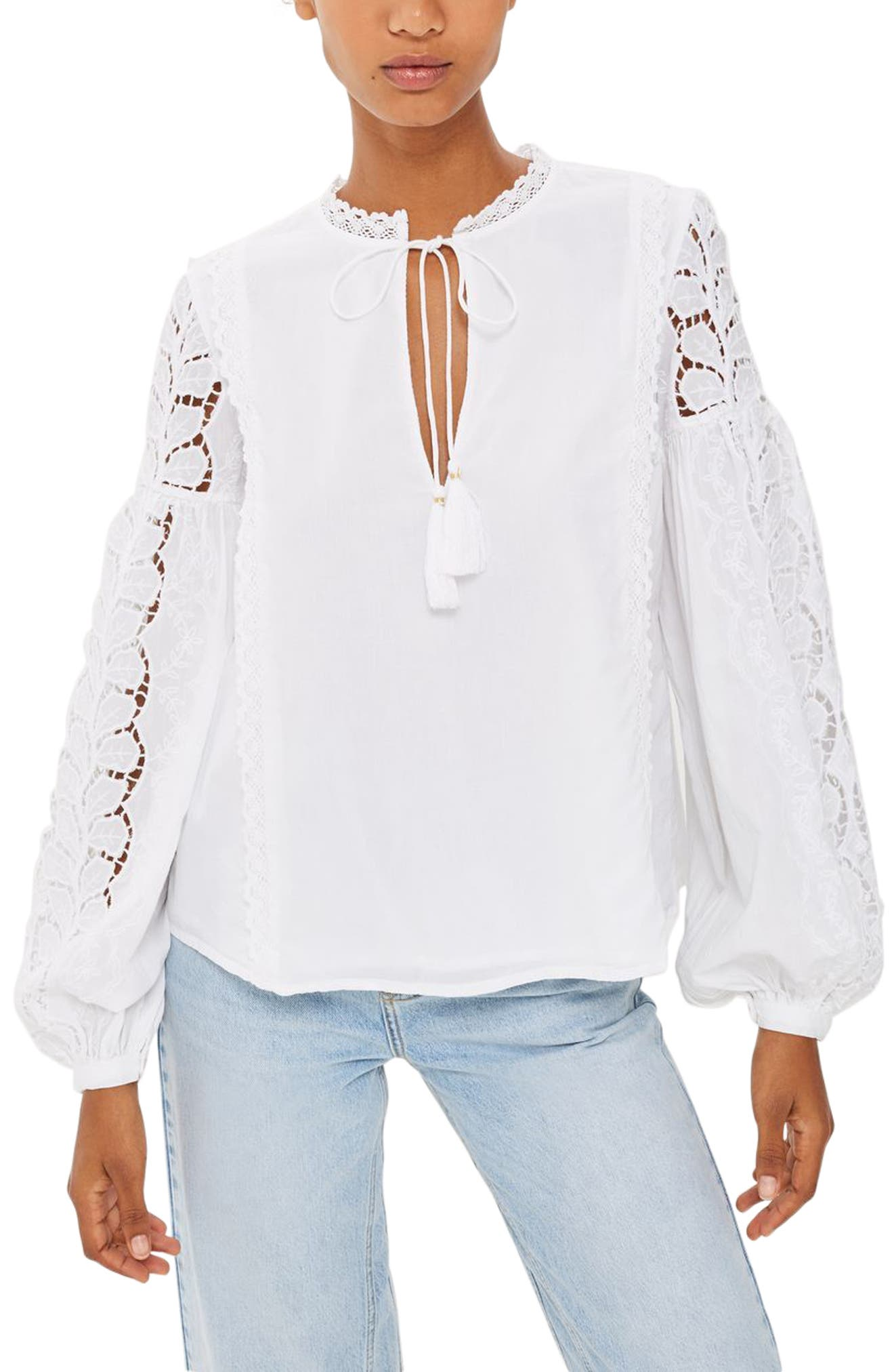 Topshop Lace Sleeve Poet Blouse