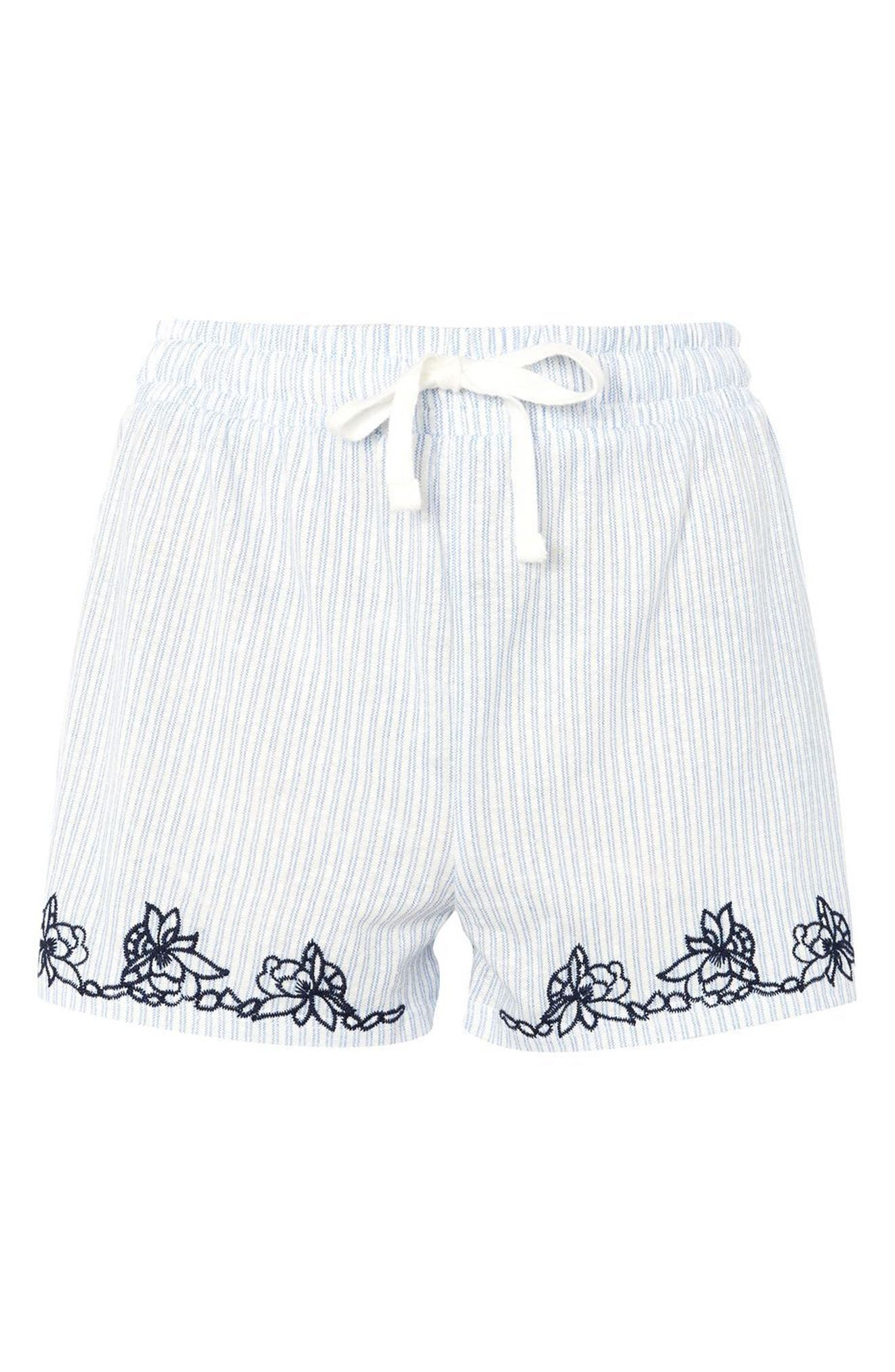 Topshop Embroidered Oxford Stripe Pajama Shorts