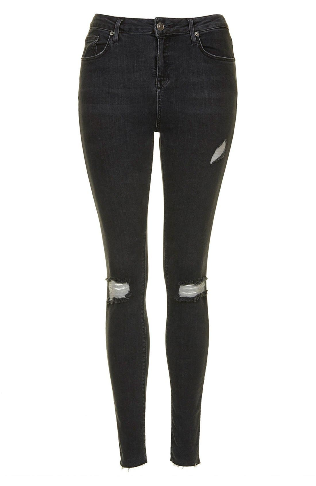 Alternate Image 4  - Topshop Moto 'Jamie' Ripped Ankle Skinny Jeans (Black)