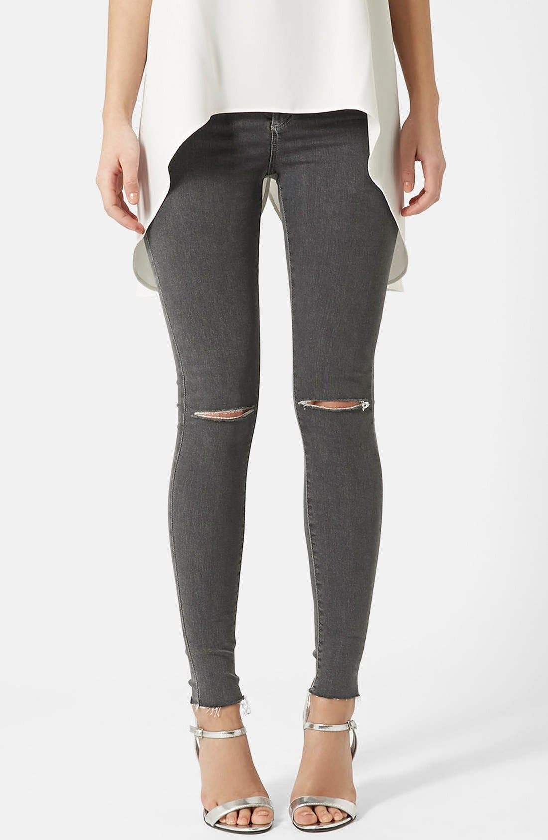Main Image - Topshop Moto 'Joni' Ripped Skinny Jeans (Grey) Regular and Short