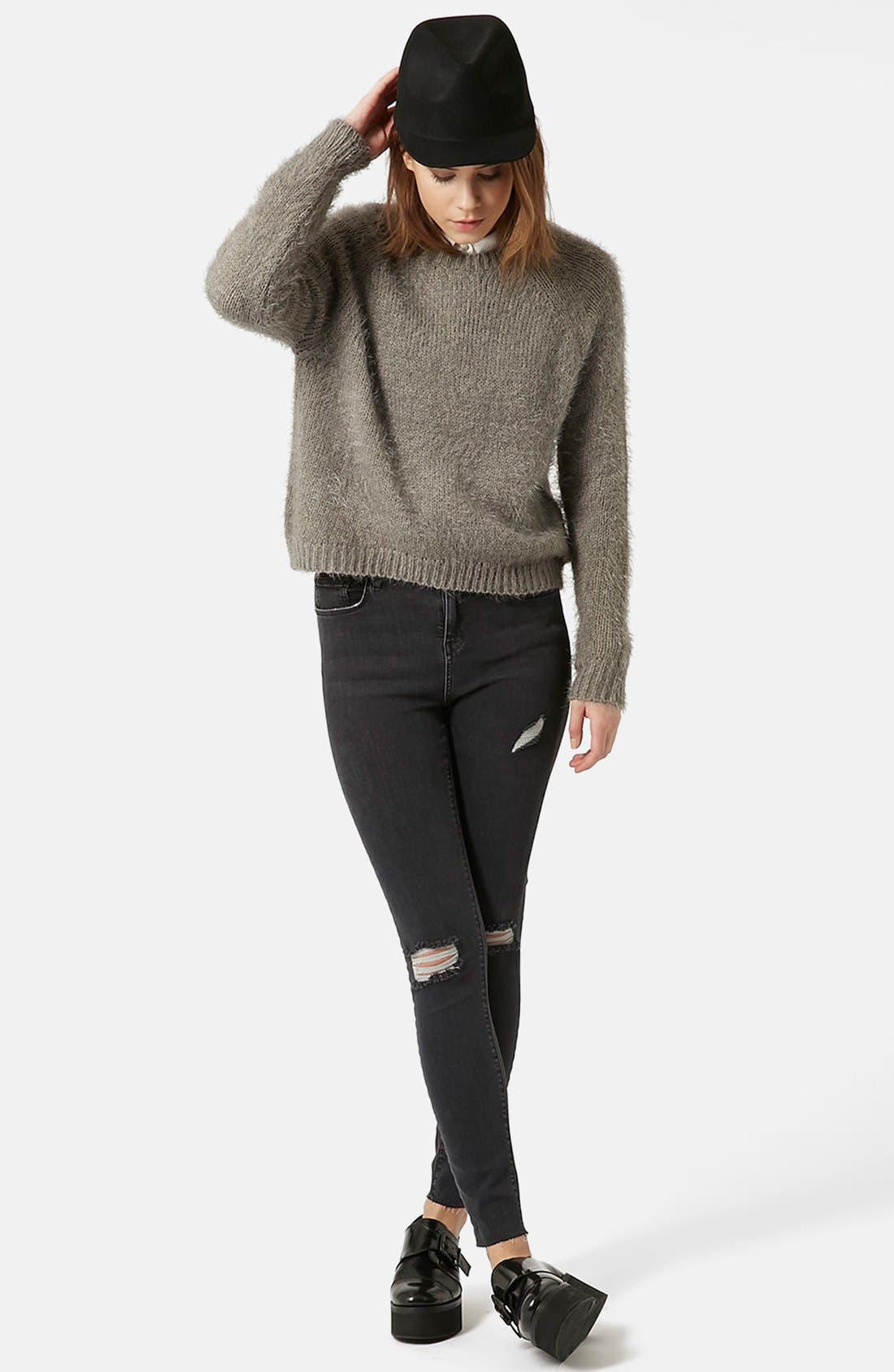 Alternate Image 1 Selected - Topshop Moto 'Jamie' Ripped Ankle Skinny Jeans (Black)