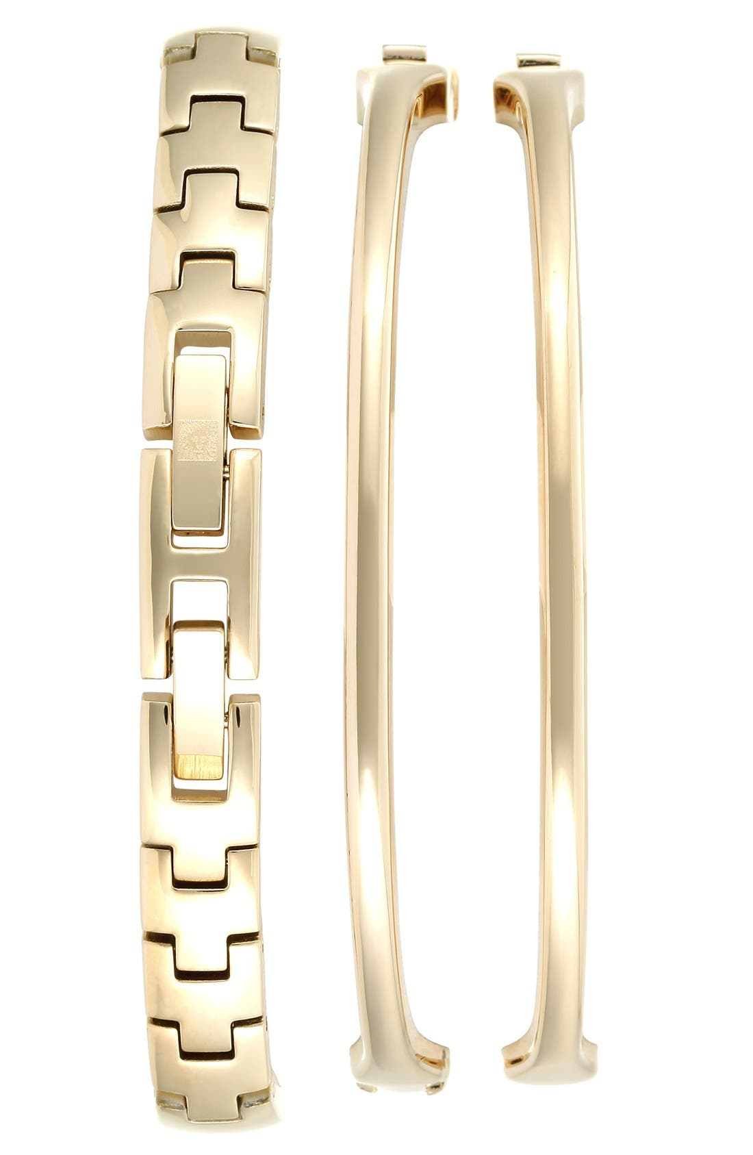 Alternate Image 2  - Anne Klein Mother-of-Pearl Dial Watch & Bangles Set, 30mm