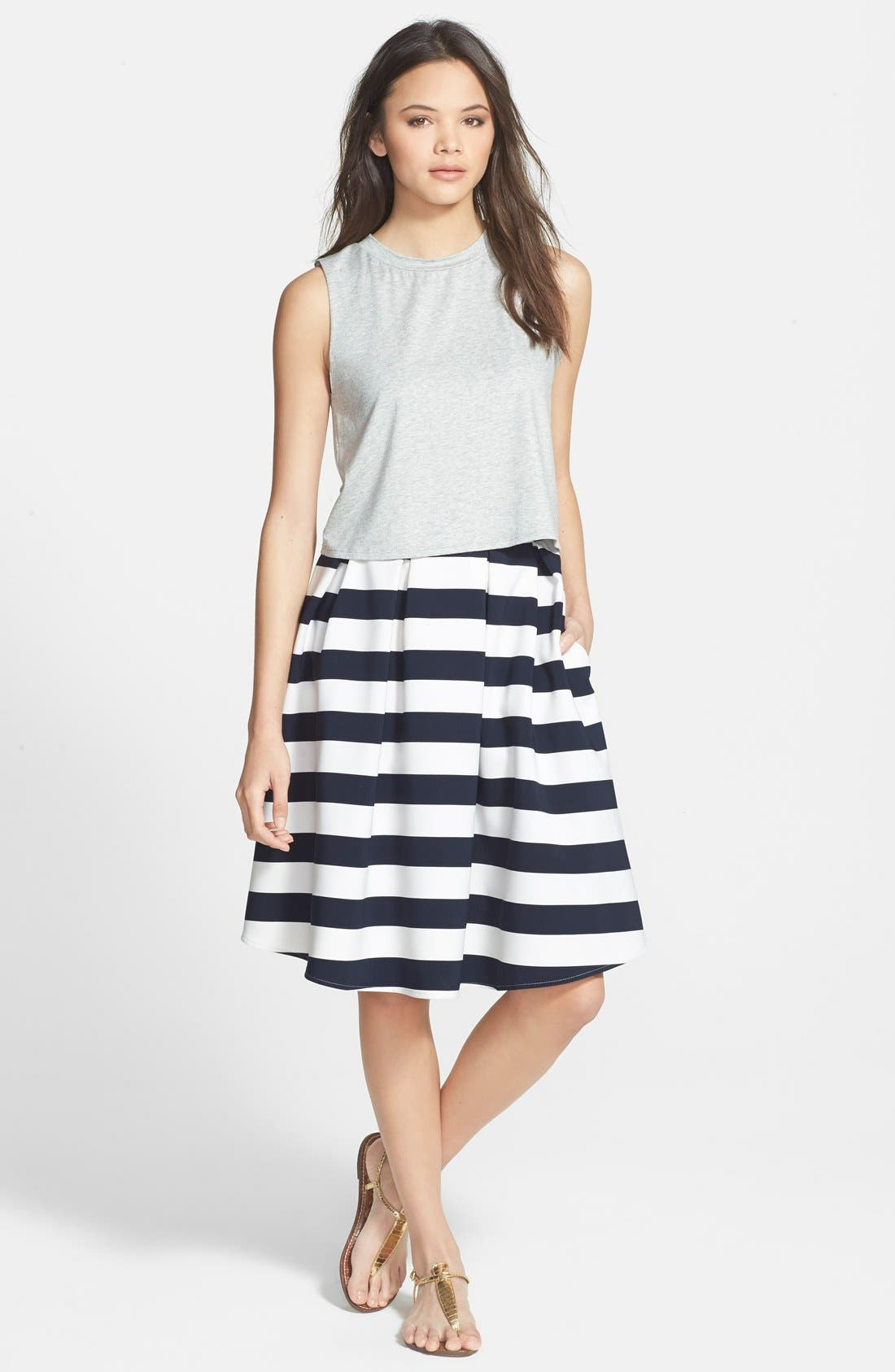 Alternate Image 4  - Lucy Paris 'Bardot' Pleated Stripe Midi Skirt
