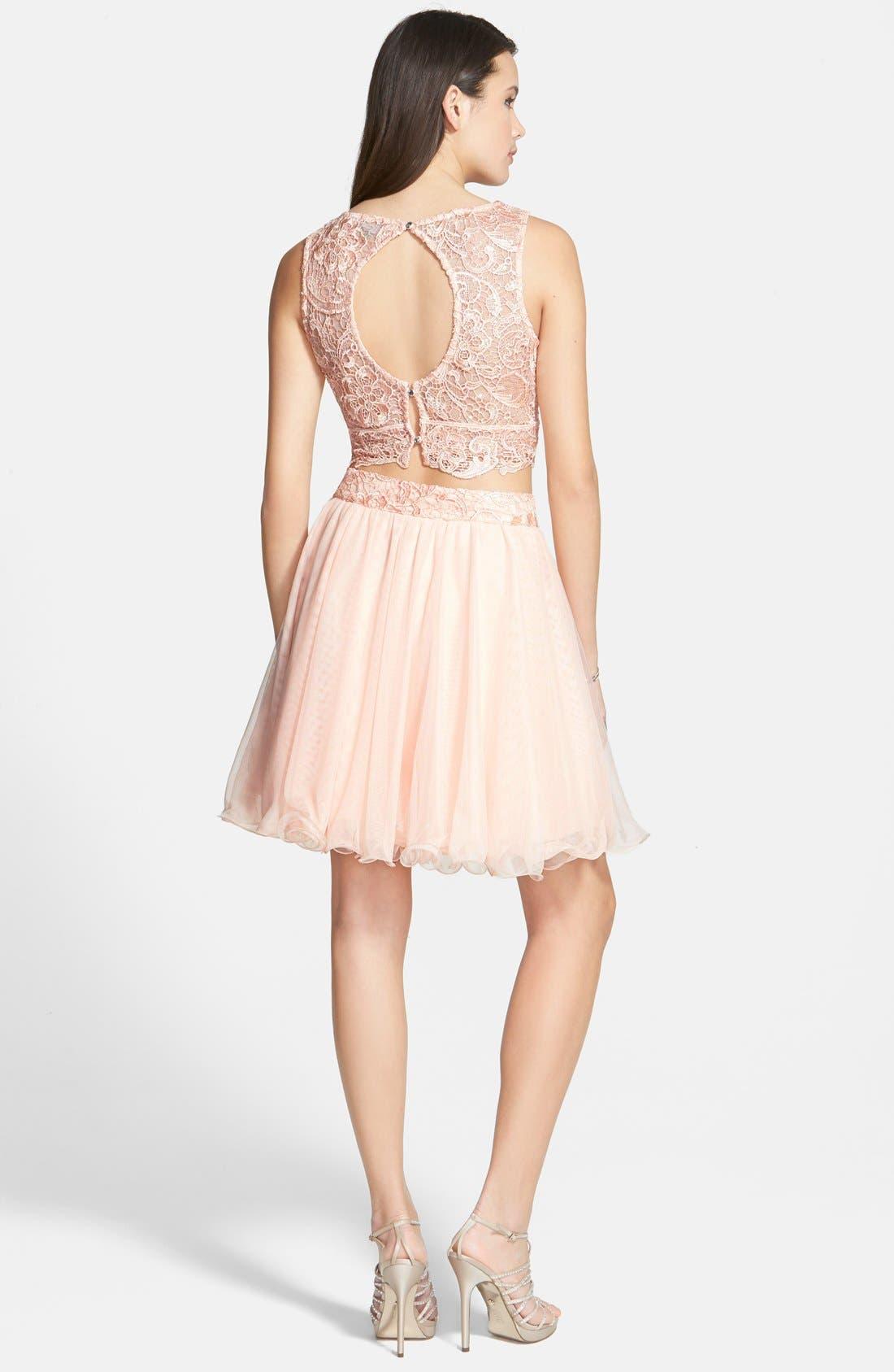 Alternate Image 2  - As U Wish 'Rosie' Two-Piece Lace Dress (Juniors)