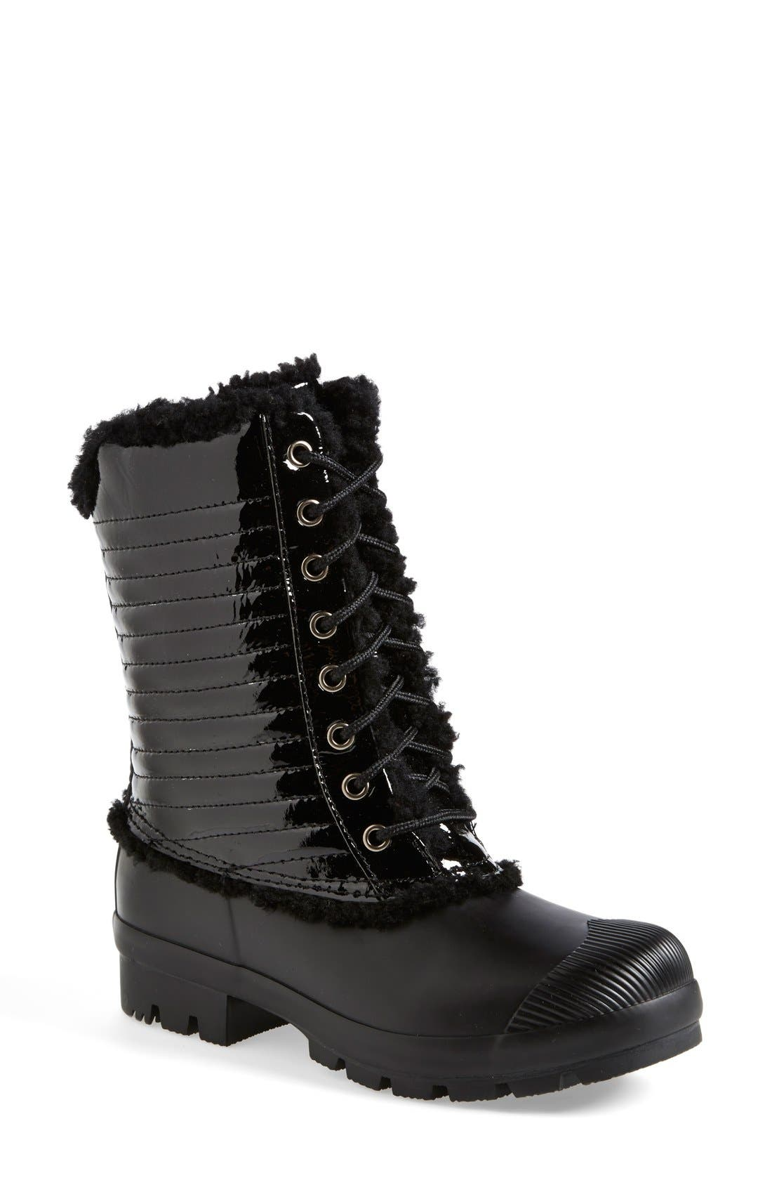 Alternate Image 1 Selected - Hunter Original Genuine Shearling & Patent Leather Lace-Up Rain Boot (Women)