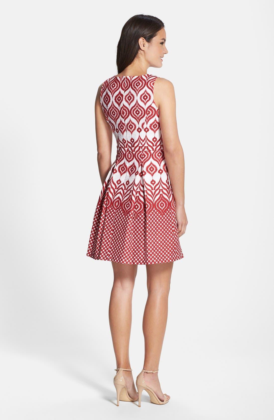 Alternate Image 2  - Taylor Dresses Cotton Jacquard Fit & Flare Dress
